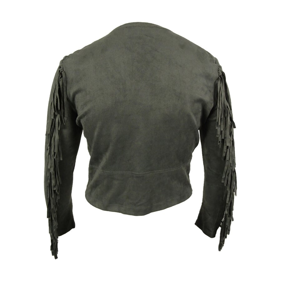 dc8e53d5a0a Shop Karen Kane Women's Faux Suede Fringe Jacket - Grey - l - Free Shipping  Today - Overstock - 15014241