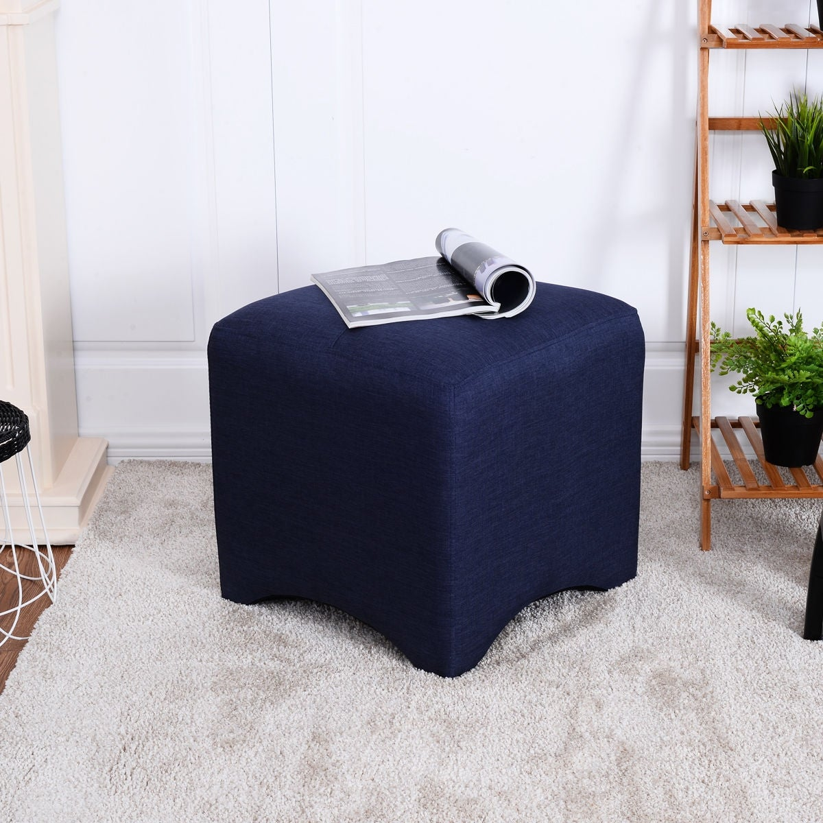 Shop Costway Navy Square Cube Ottoman Foot Stool Foot Rest Seating ...