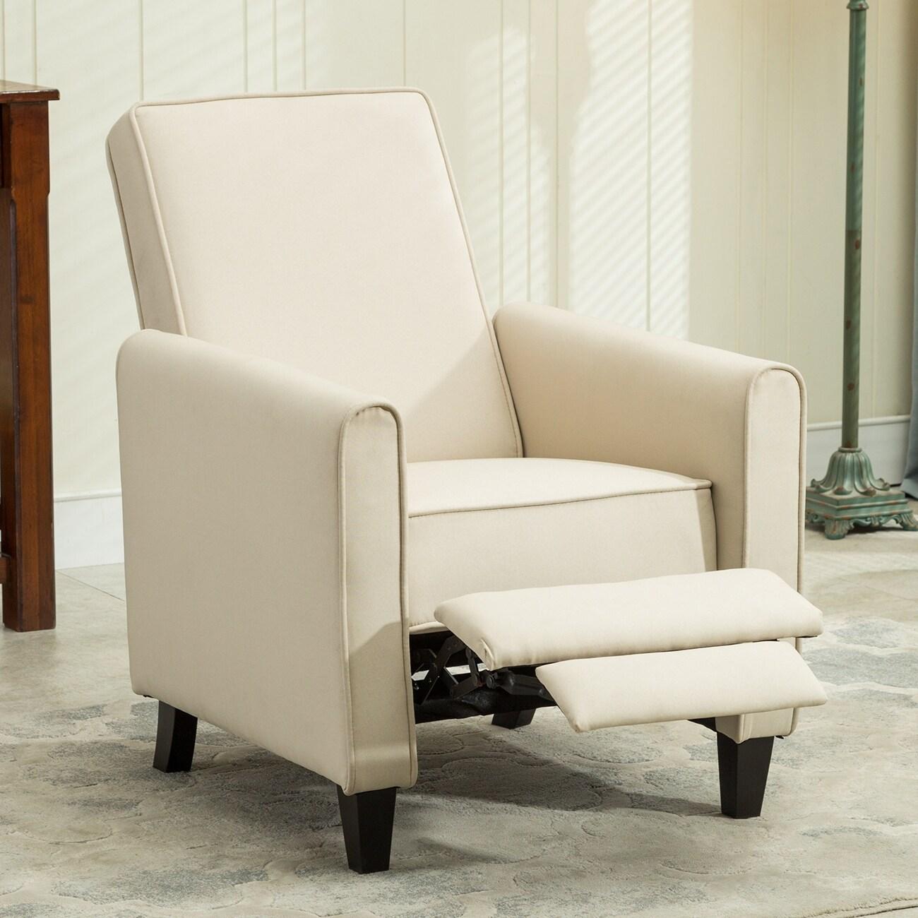 Belleze modern living room furniture design recliner club linen chair accent beige