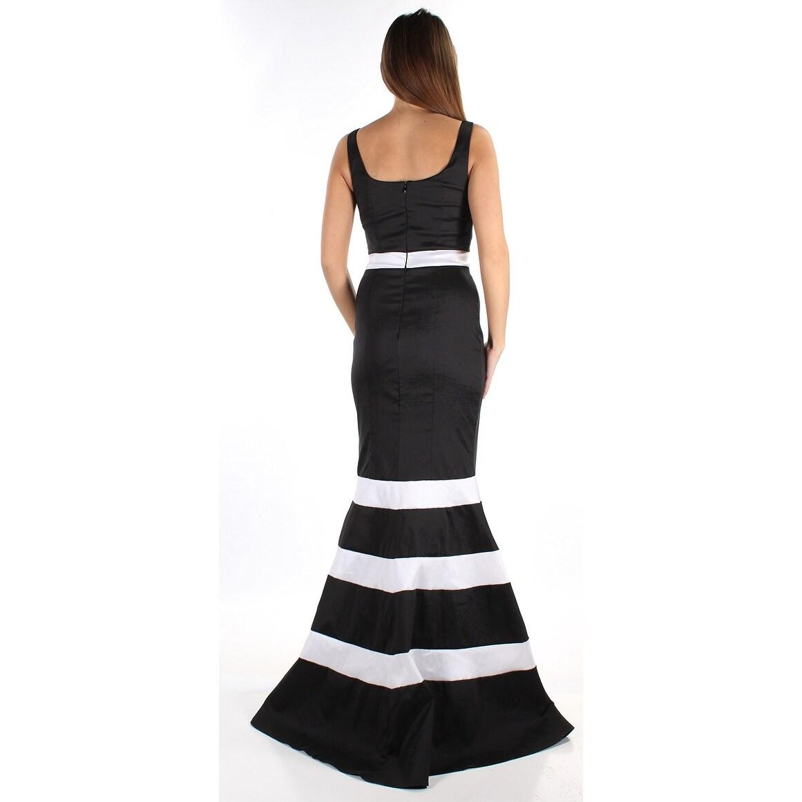 Shop Xscape NEW Black White Striped Women\'s Size 4 V-Neck Prom Gown ...