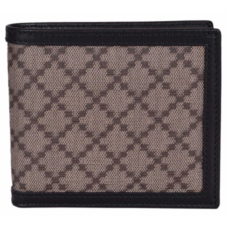 869cebc90748 Gucci Men's 225826 Beige Black Canvas Leather Diamante Bifold Wallet -  4.25