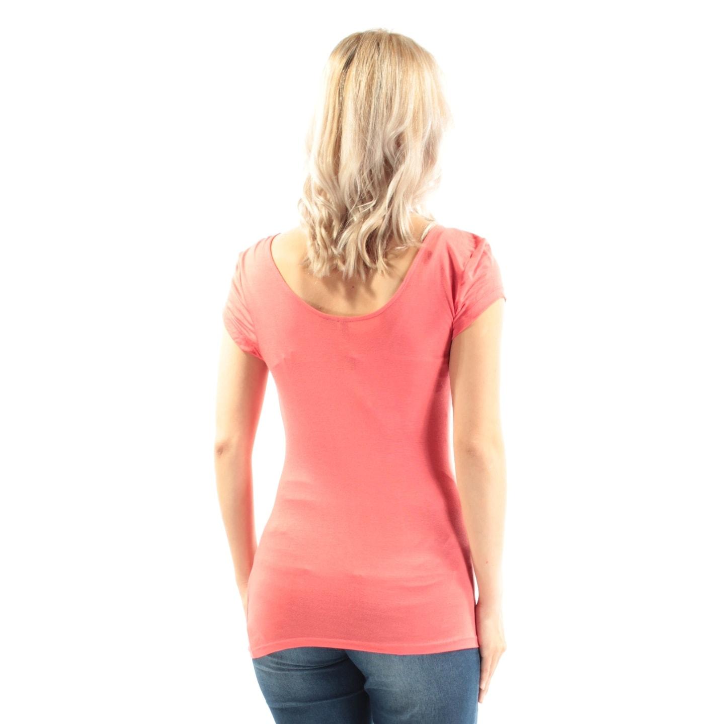 0a8cda4b87 Shop ULTRA FLIRT  13 Womens New 3414 Coral Short Sleeve T-Shirt S Juniors  B+B - Free Shipping On Orders Over  45 - Overstock.com - 21350691