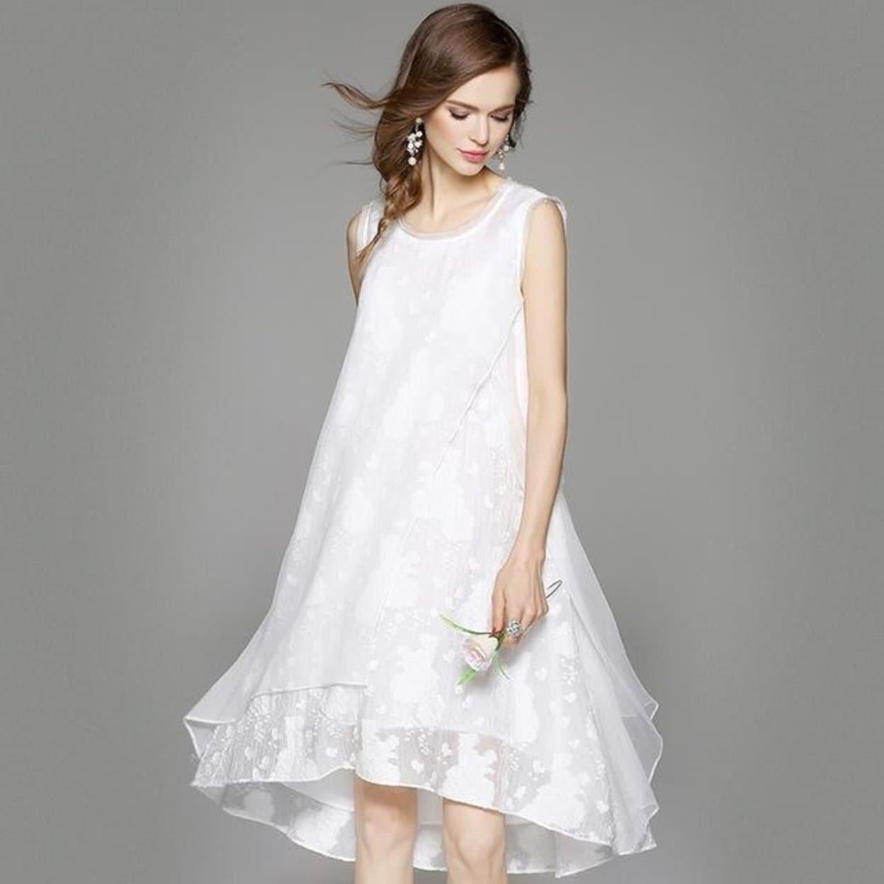 Fashion Spring Summer Silk Linen Dress Women Black White Dresses Vintage  Irregular Loose Sleeveless Plus Size Dress Vestidos