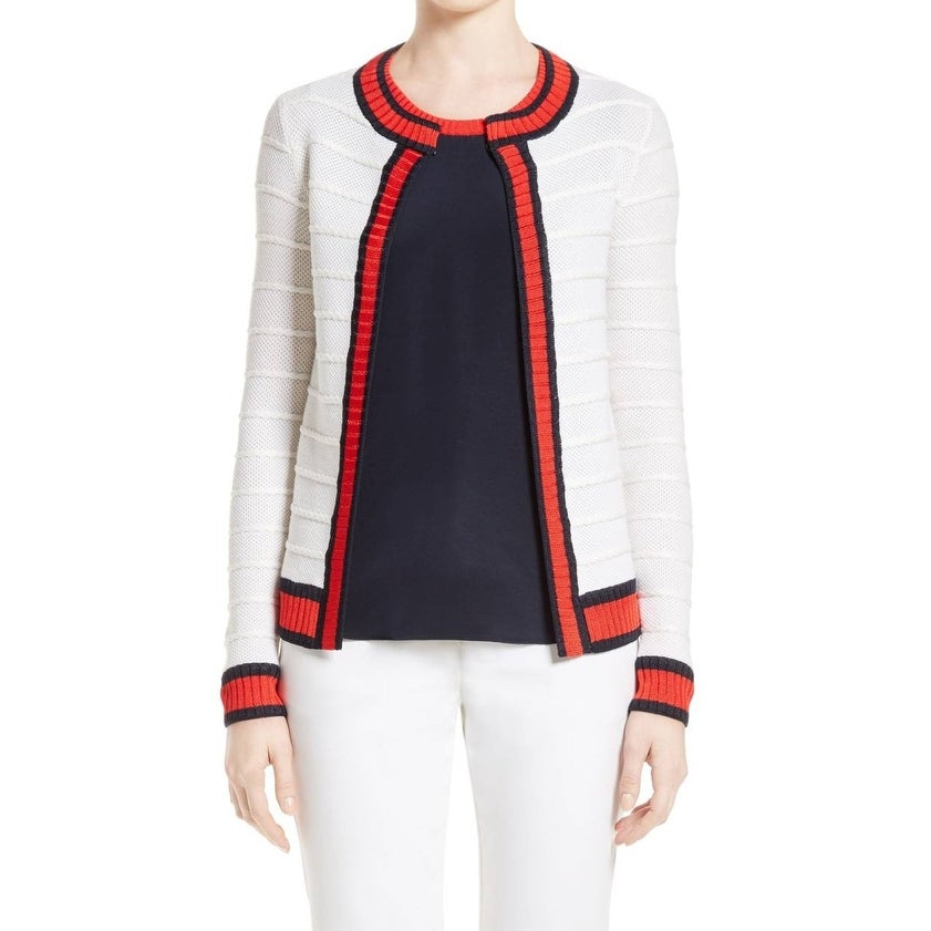 16aefc7c26 Shop St. John NEW White Ivory Womens XL Honeycomb Stripe Cardigan Sweater -  On Sale - Free Shipping Today - Overstock.com - 21549461