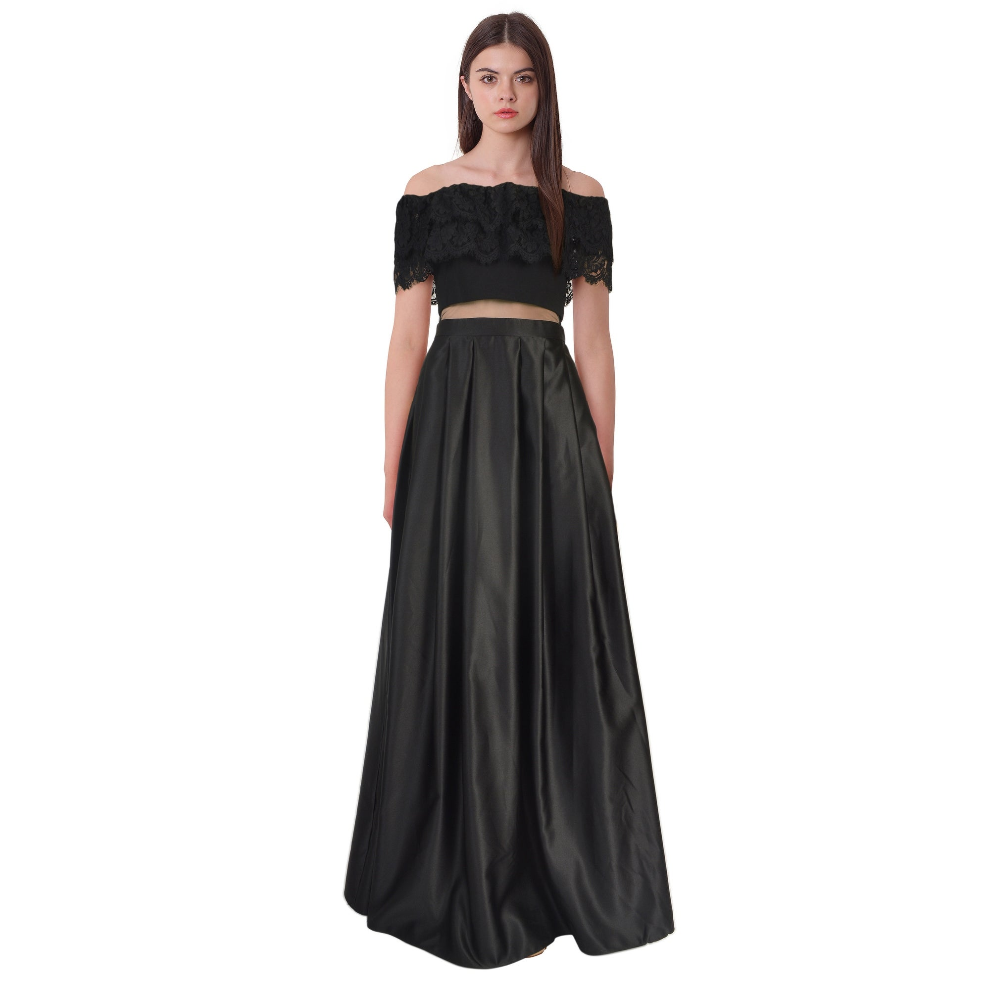 Betsy & Adam Off Shoulder Lace Mesh Inset Evening Gown Dress - Free ...