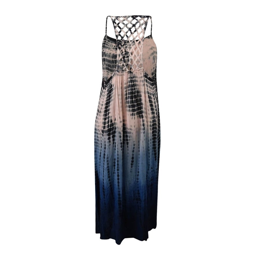 55bb9eb80b Shop Raviya Women s Plus Size Tie-Dyed Lattice-Back Cover-Up Dress - grey -  Free Shipping On Orders Over  45 - Overstock.com - 21465173