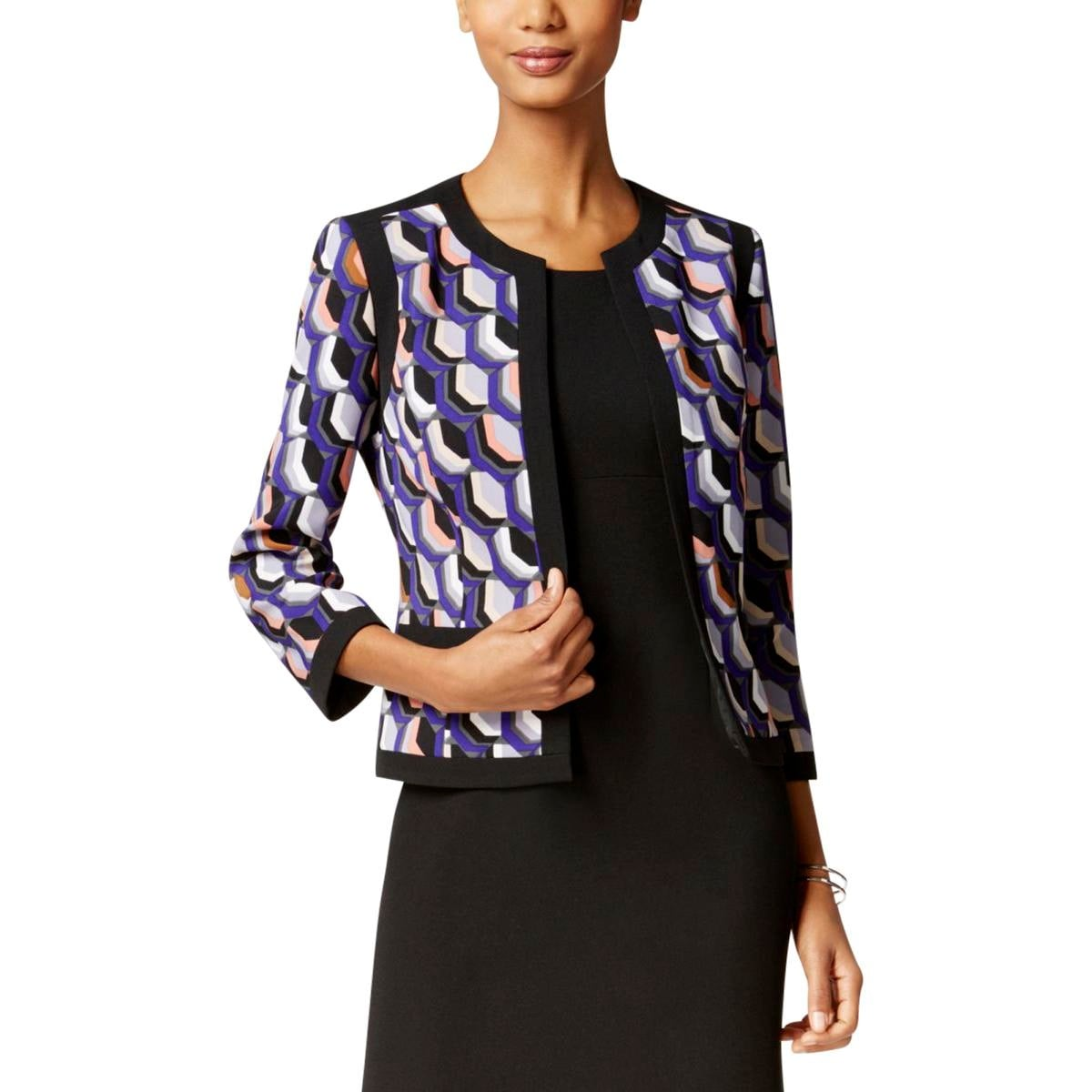 f32b83784b Shop Kasper Womens Open-Front Blazer Twill Pattern - Free Shipping On  Orders Over  45 - Overstock.com - 20667829