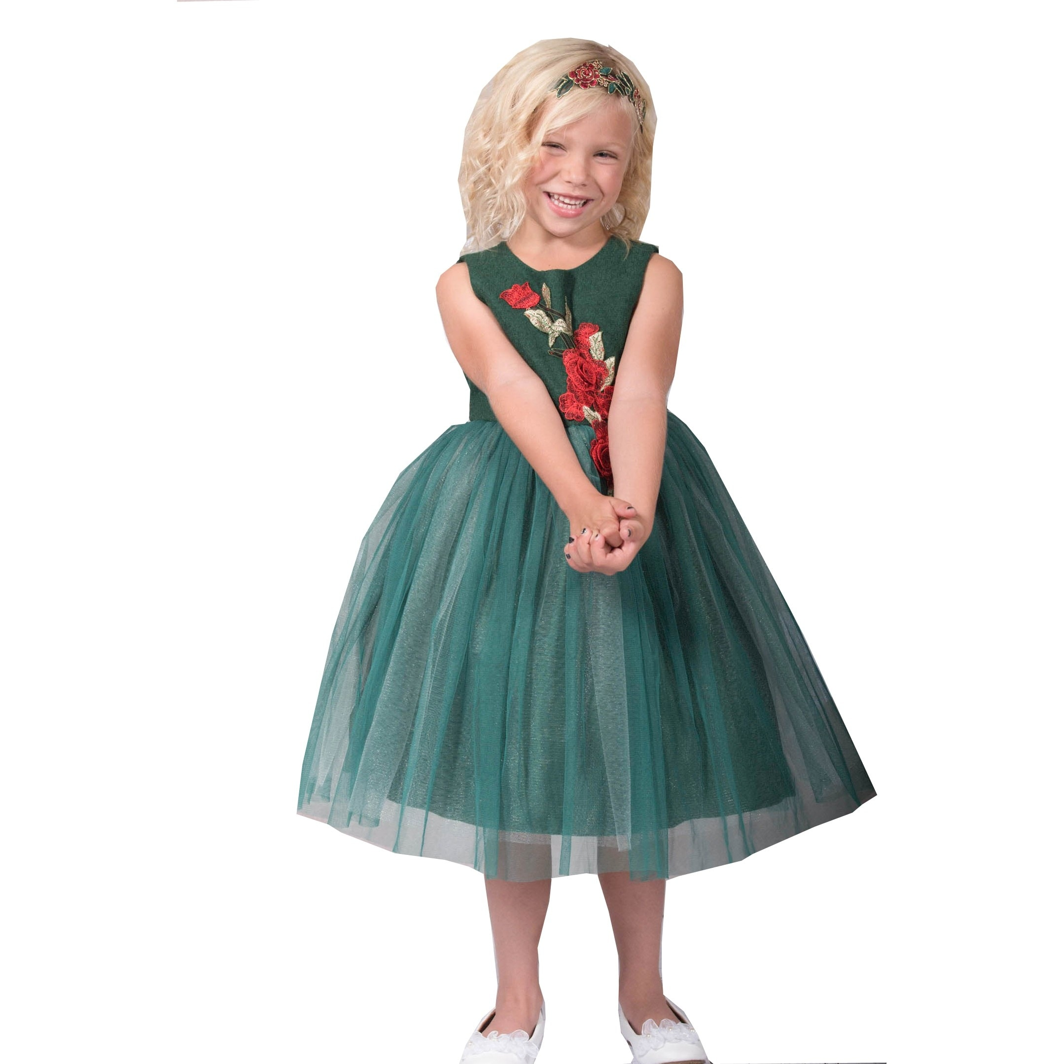 Kids Dream Girls Green Red Rose Sparkle Tulle Junior Bridesmaid ...