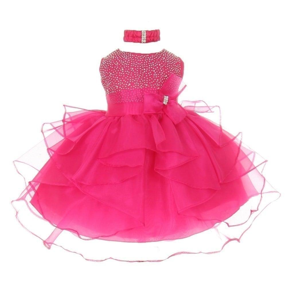 Little Girls Hot Pink Organza Rhine Stud Bow Sash Flower Girl Dress