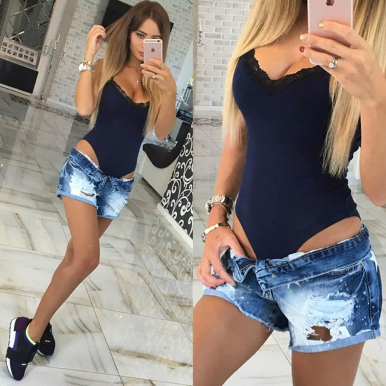27ed4edc27b9 Shop Summer Plus Size Women Sexy Bodysuits V neck Sleeveless Spaghetti  Strap Lace Patchwork Bodycon Jumpsuit Rompers Tops - Free Shipping On  Orders Over  45 ...