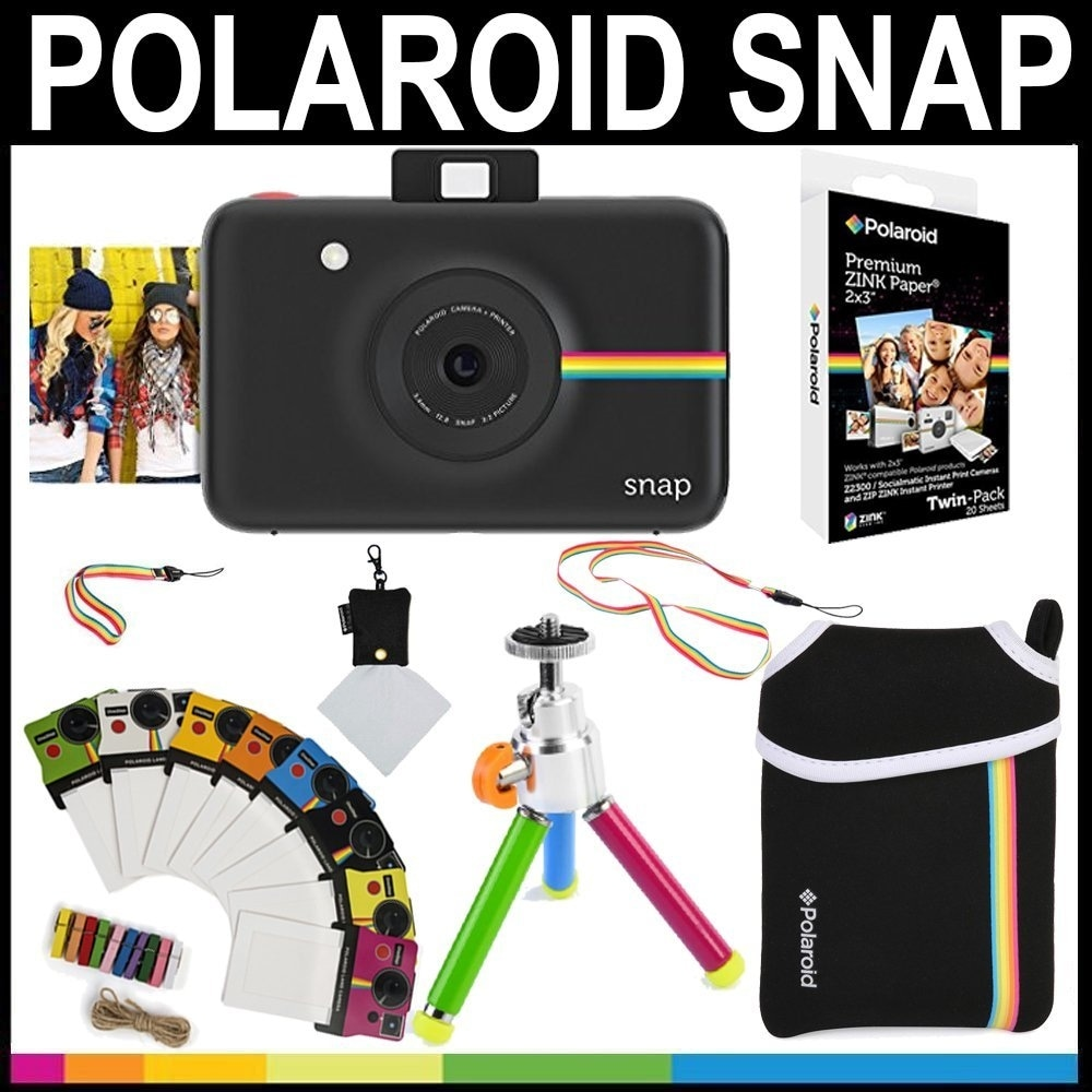 Shop Polaroid Snap Instant Camera Black 2x3 Zink Paper 20 Pack
