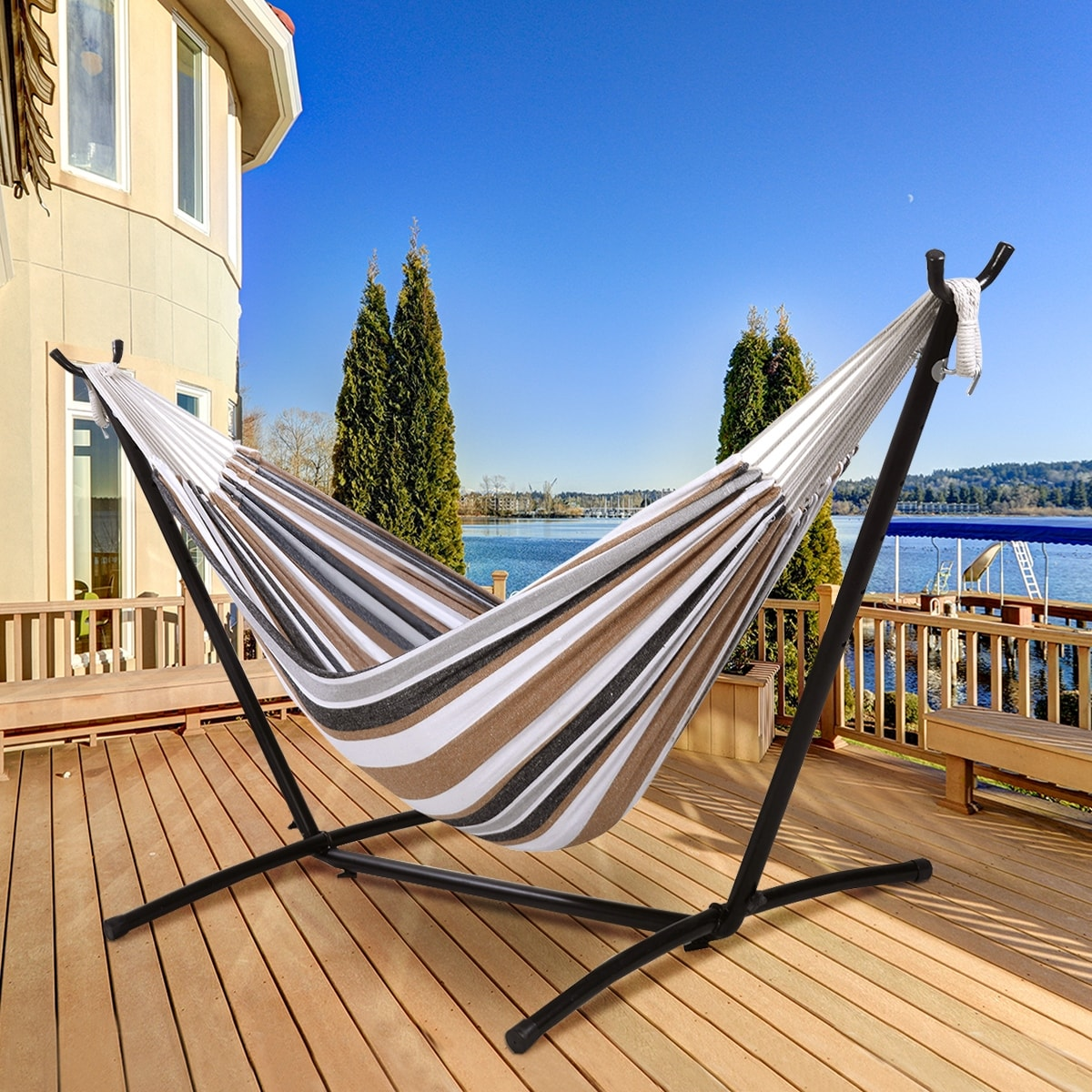 Shop Costway Double Hammock With Space Saving Steel Stand Includes Portable  Carry Bag   Free Shipping Today   Overstock.com   16088538