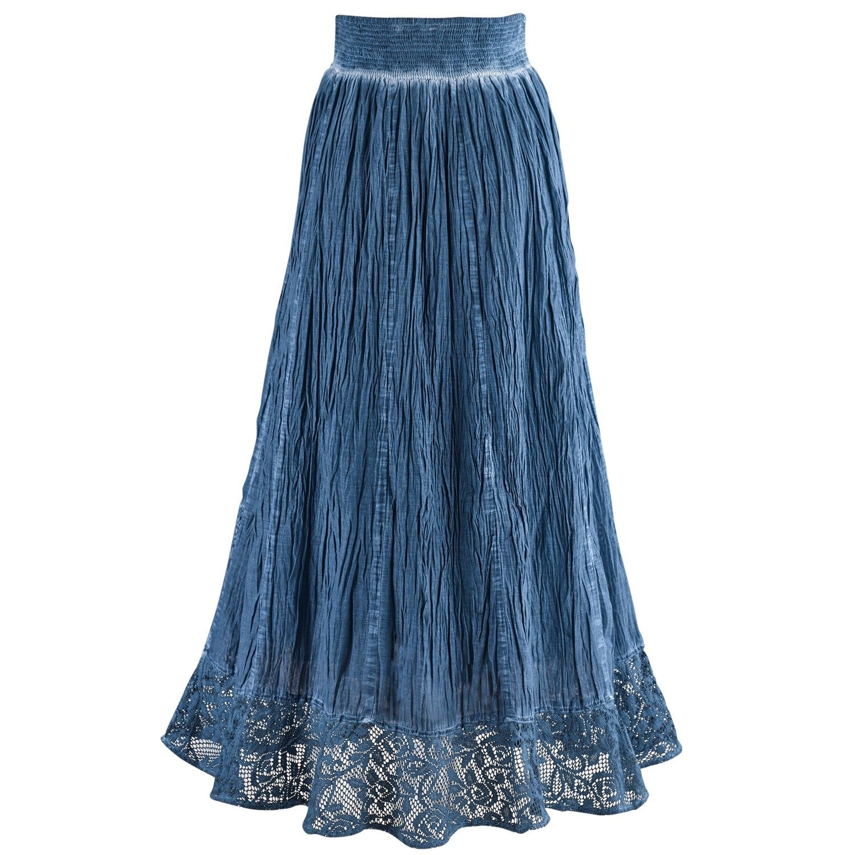 f85fa5a00e Shop Women s Peasant Skirt - Indigo Blue Pigment Washed Crochet Hem Elastic  Waist - Free Shipping Today - Overstock - 20652852