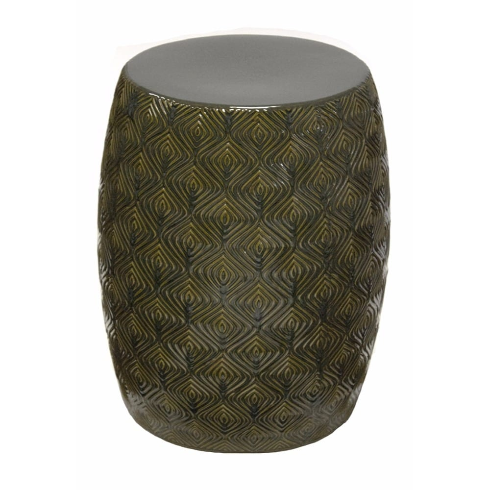 Shop Contemporary Ceramic garden Stool, Green and Gray - Free ...