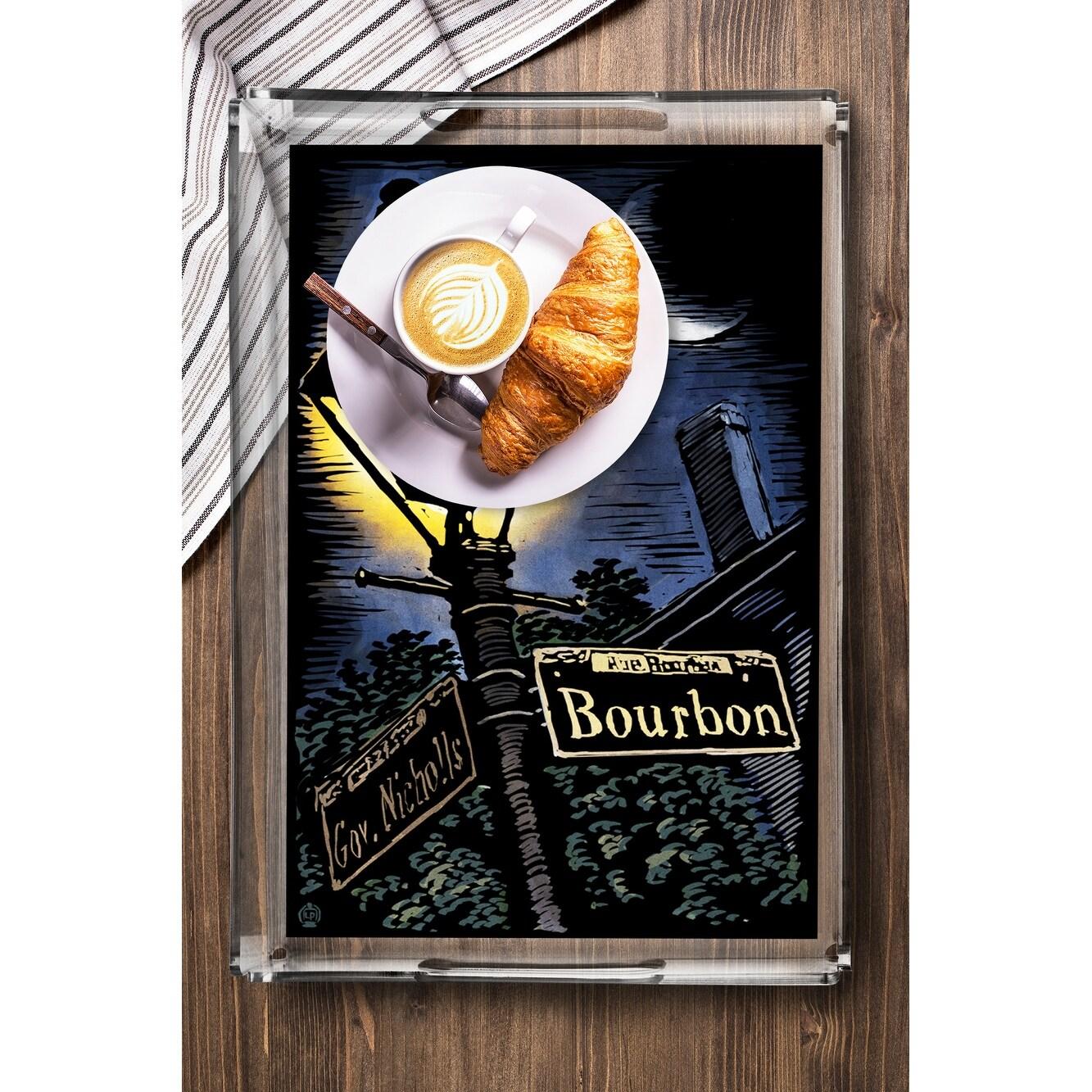 New Orleans Louisiana Bourbon Street Lamppost Scratchboard Lantern Press Artwork Acrylic Serving Tray
