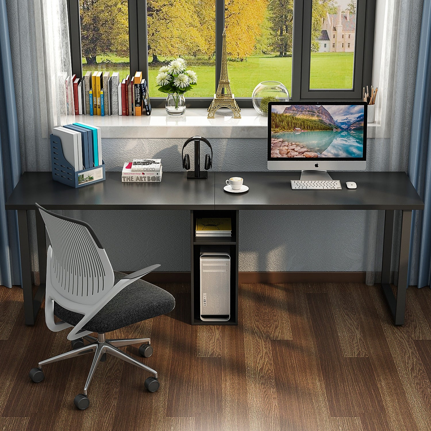 78 Extra Large Double Workstation Computer Desk For Two Person Simple Modern Style Office With Storage And Cabinet Ships To Canada