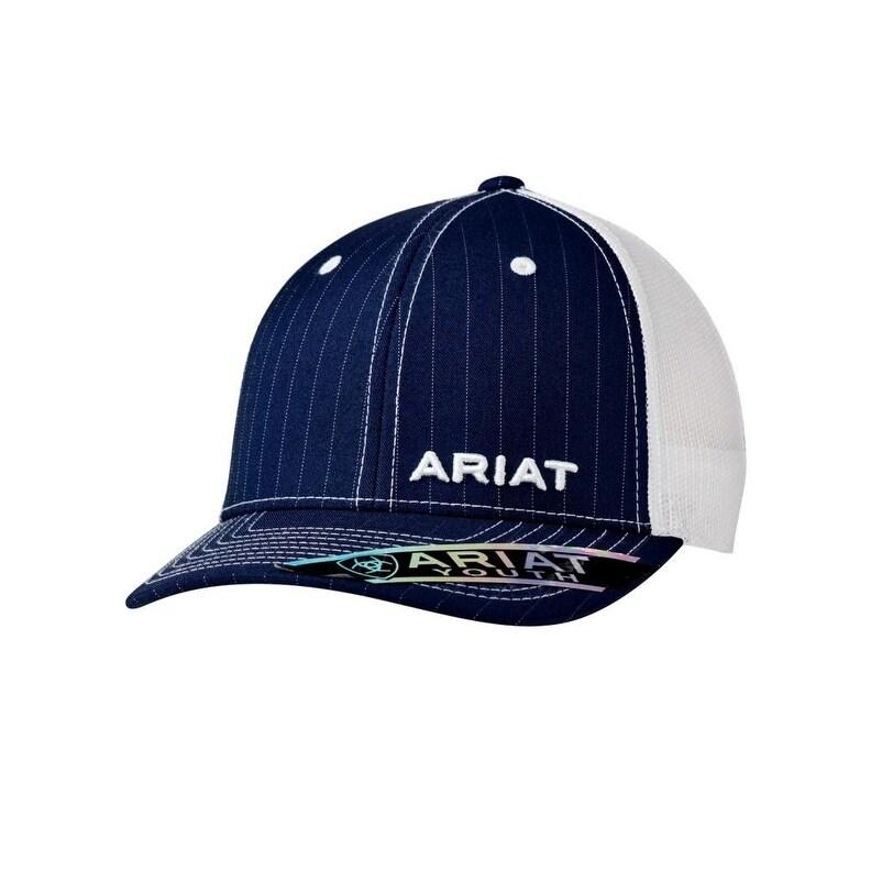 Ariat Kids Hat Youth Baseball Cap Mesh Back Logo Pinstripe Blue Navy 1517903