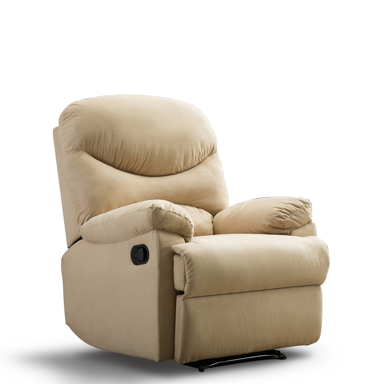 Belleze microfiber recliner sofa chair home office reclining positions ergonomic armrests footrests brown beige