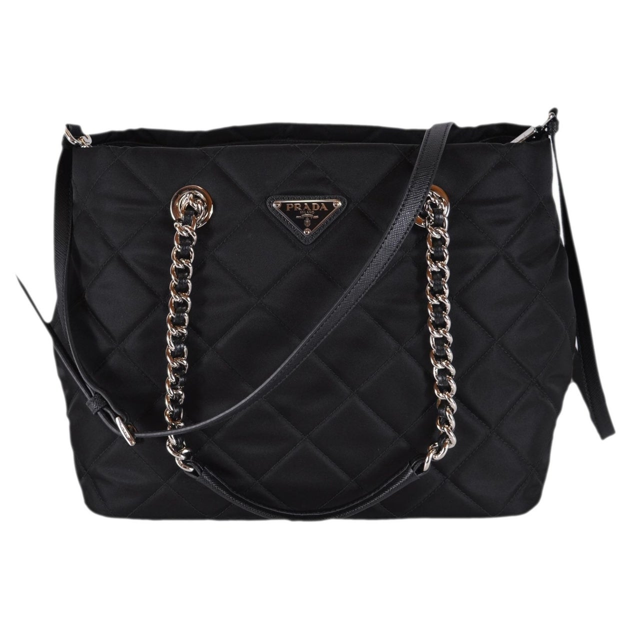 f0ce2cf8d3bfdc Shop Prada 1BG740 Black Tessuto Quilted Nylon Chain Strap Crossbody Purse  Tote - Free Shipping Today - Overstock - 26441071