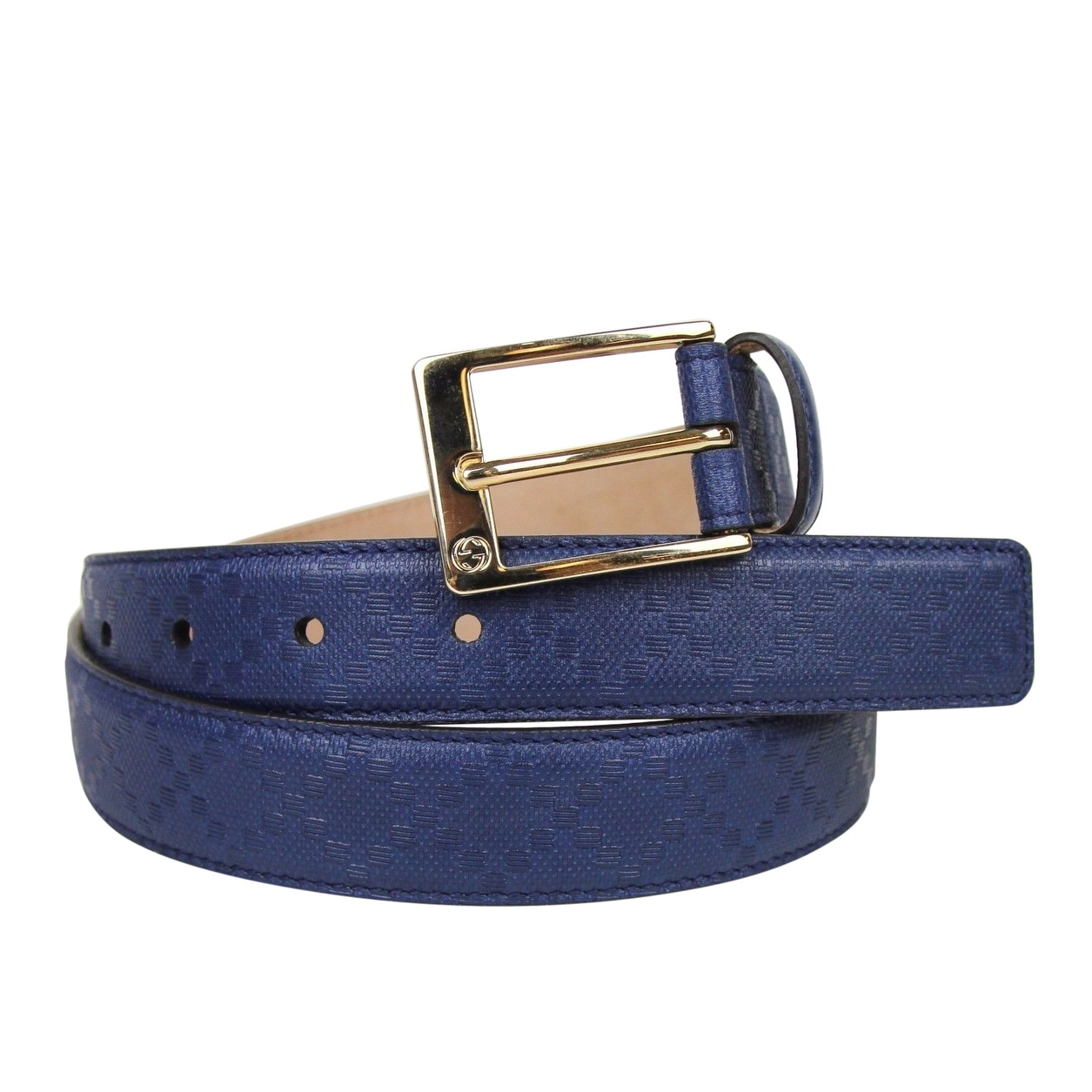 5e7f1d752cc Shop Gucci Men s Square Navy Blue Leather Belt With Buckle 345658 4232 -  Free Shipping Today - Overstock - 25455586