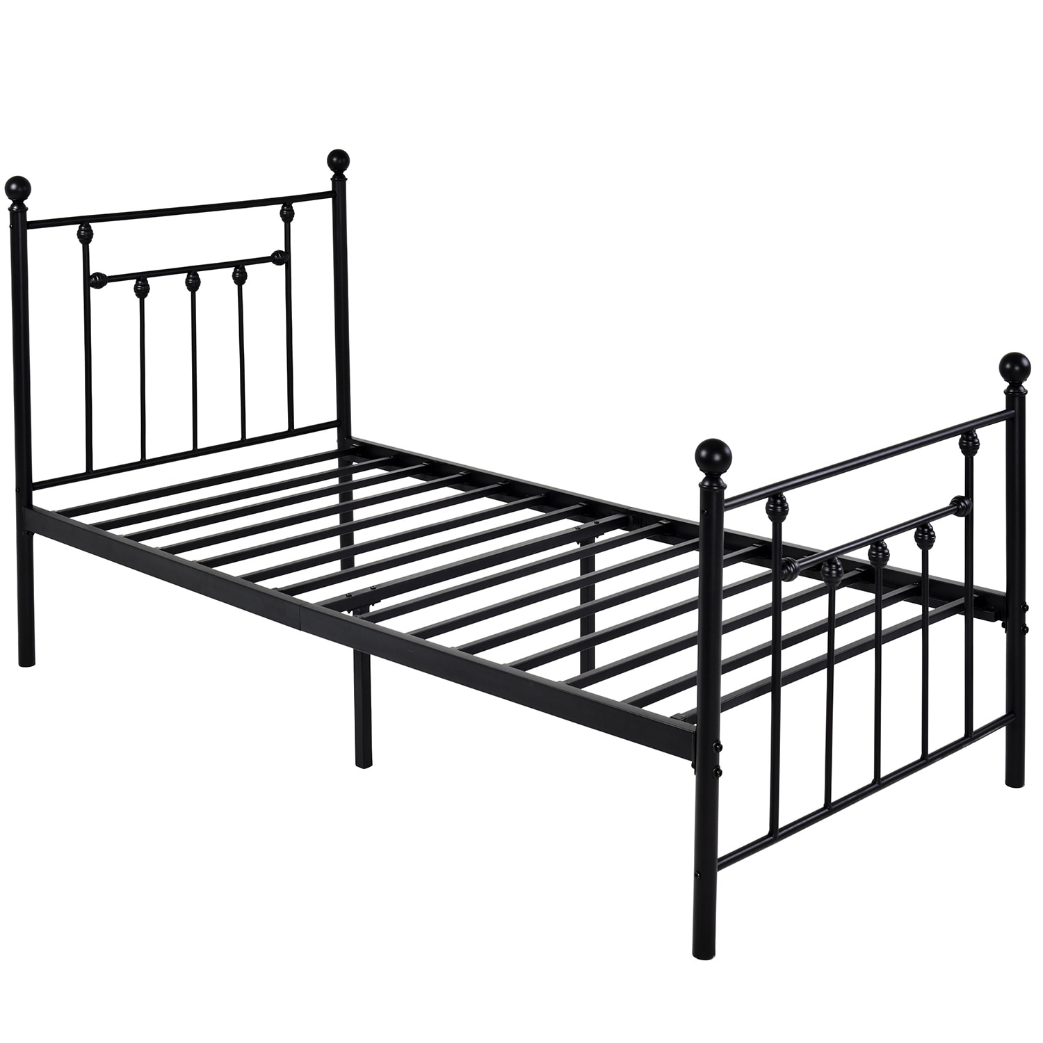 Shop VECELO Bed Frame Twin Size Victorian Metal Platform Box Spring Replacement With Headboard