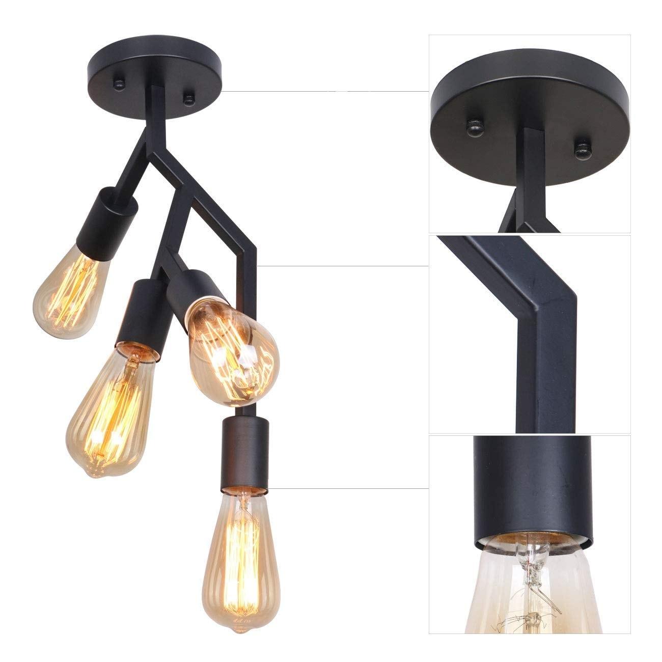 4 light vintage industrial black decorative flush mount ceiling light fixture