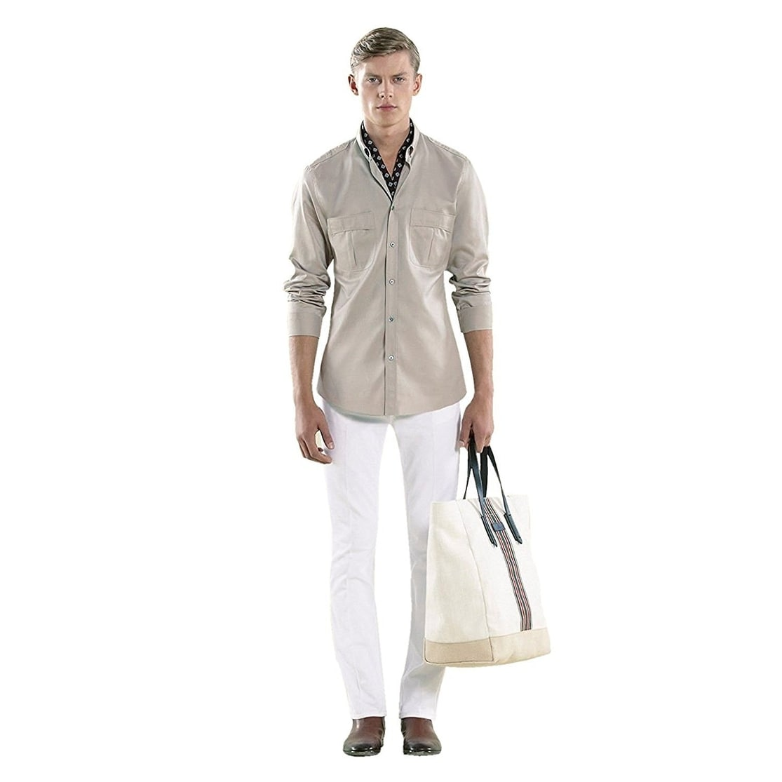 422df9b5d45a Shop Gucci Men's White Canvas Large Web Tall Tote Bag 308836 - Free  Shipping Today - Overstock - 27603183