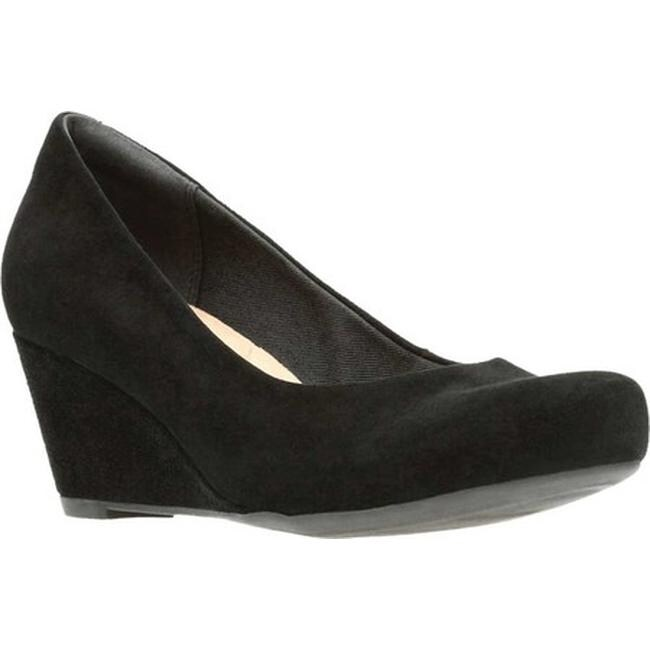 27664e9d0b97 Shop Clarks Women s Flores Tulip Wedge Black Suede - Free Shipping Today -  Overstock - 18151078