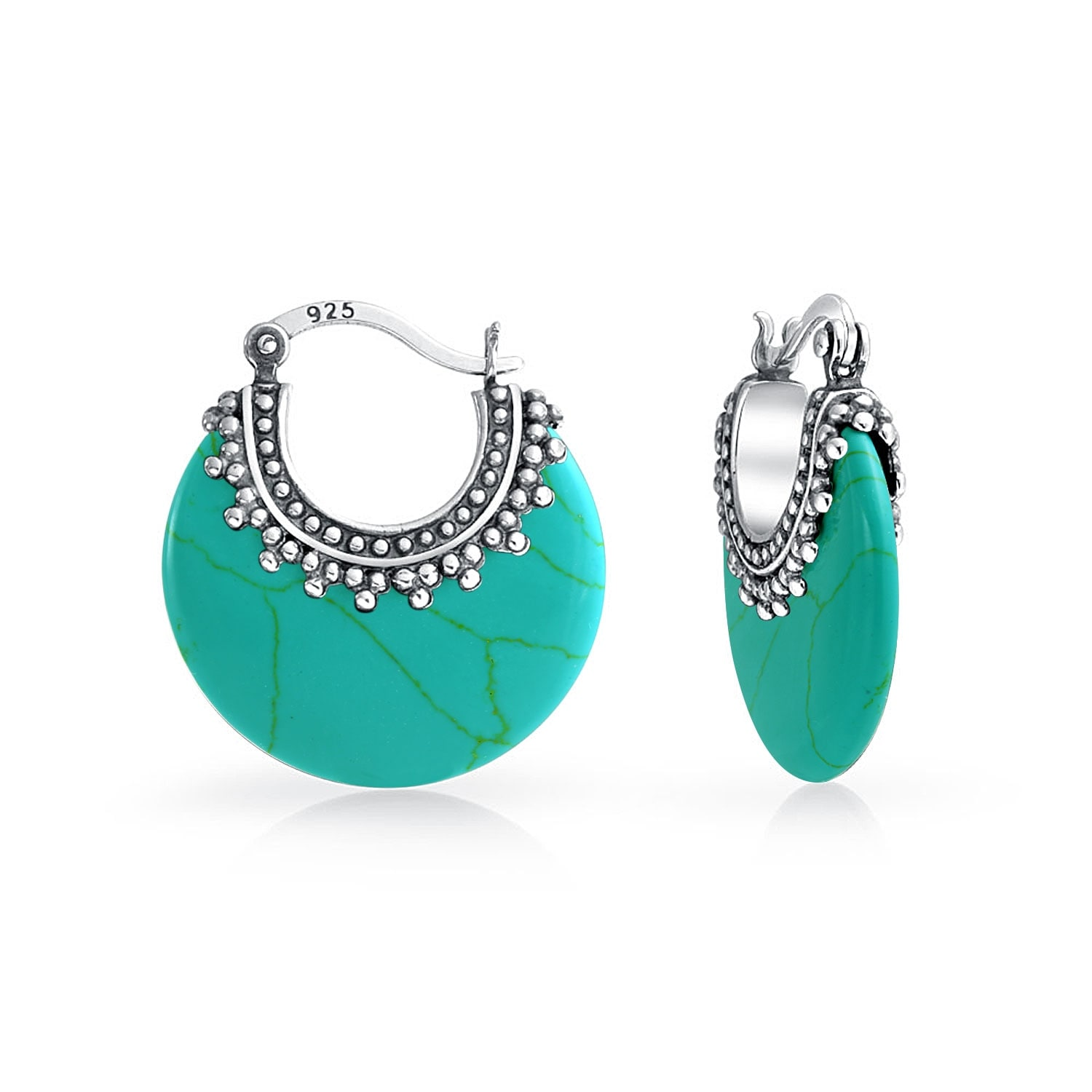 63207d82b Shop Bali Style Tribal Enhanced Turquoise Boho Crescent Hoop Earrings For  Women Oxidized Caviar Bead 925 Sterling Silver - On Sale - Free Shipping On  Orders ...
