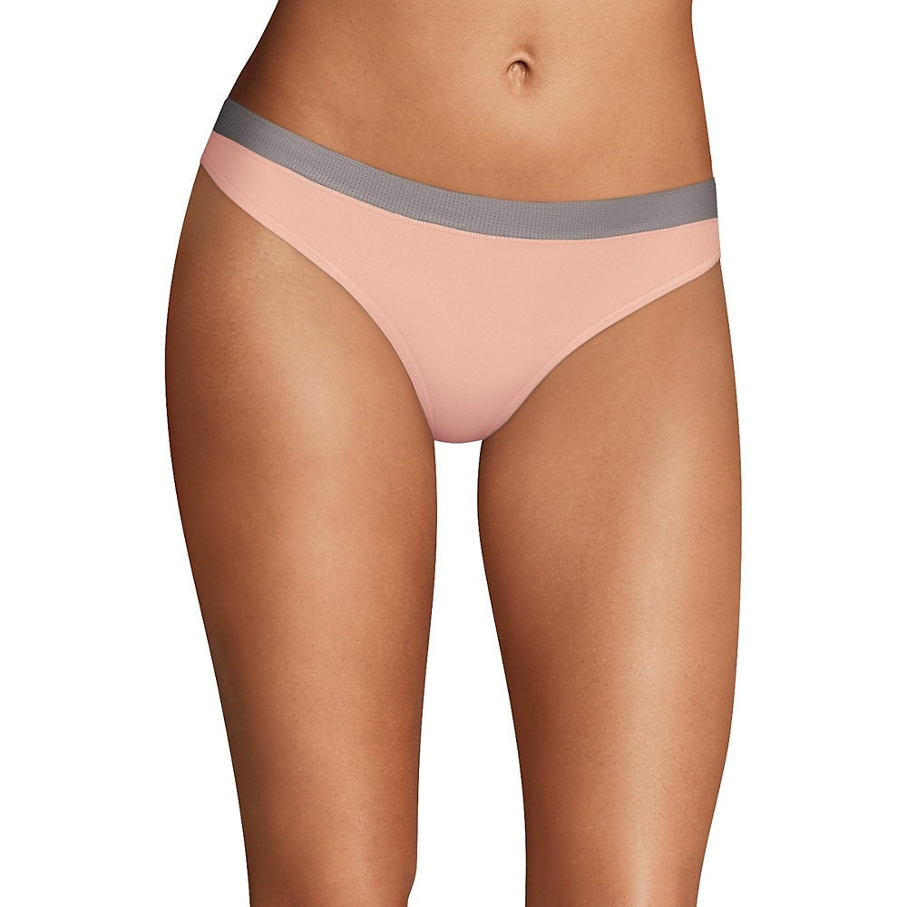 873adc08b77c Shop Maidenform Sport Heathered Micro Thong - Color - Coolest Grey/Sheer  Pale Pink Heather - Size - 5 - Free Shipping On Orders Over $45 - Overstock  - ...