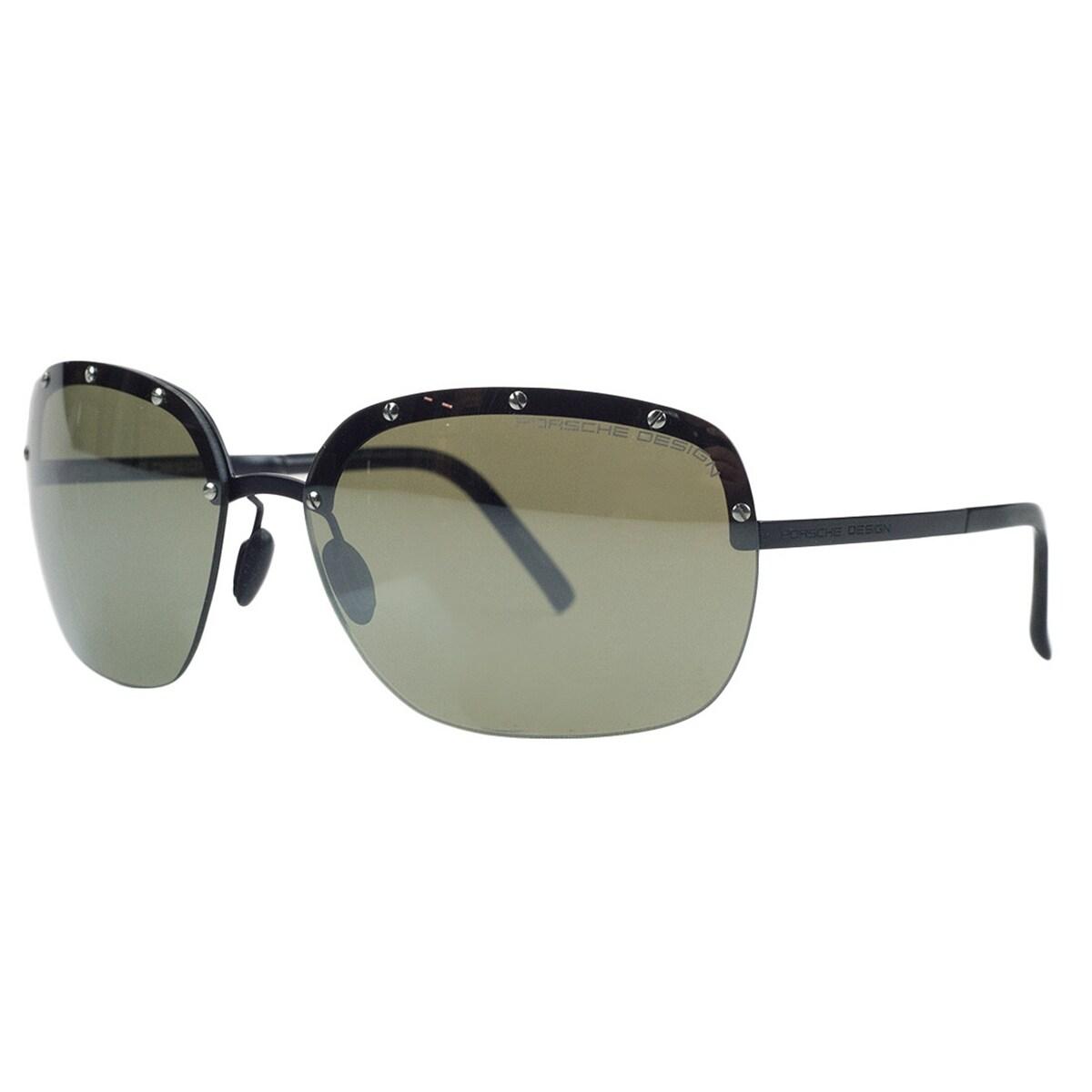 4f4d8e2581 Shop Porsche P8576-C Black Square Sunglasses - 65-15-135 - Free ...