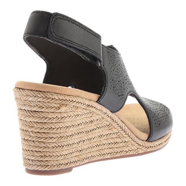 4f939cb7801d Shop Clarks Women s Lafley Rosen Wedge Slingback Black Full Grain Leather -  On Sale - Free Shipping Today - Overstock - 20592427