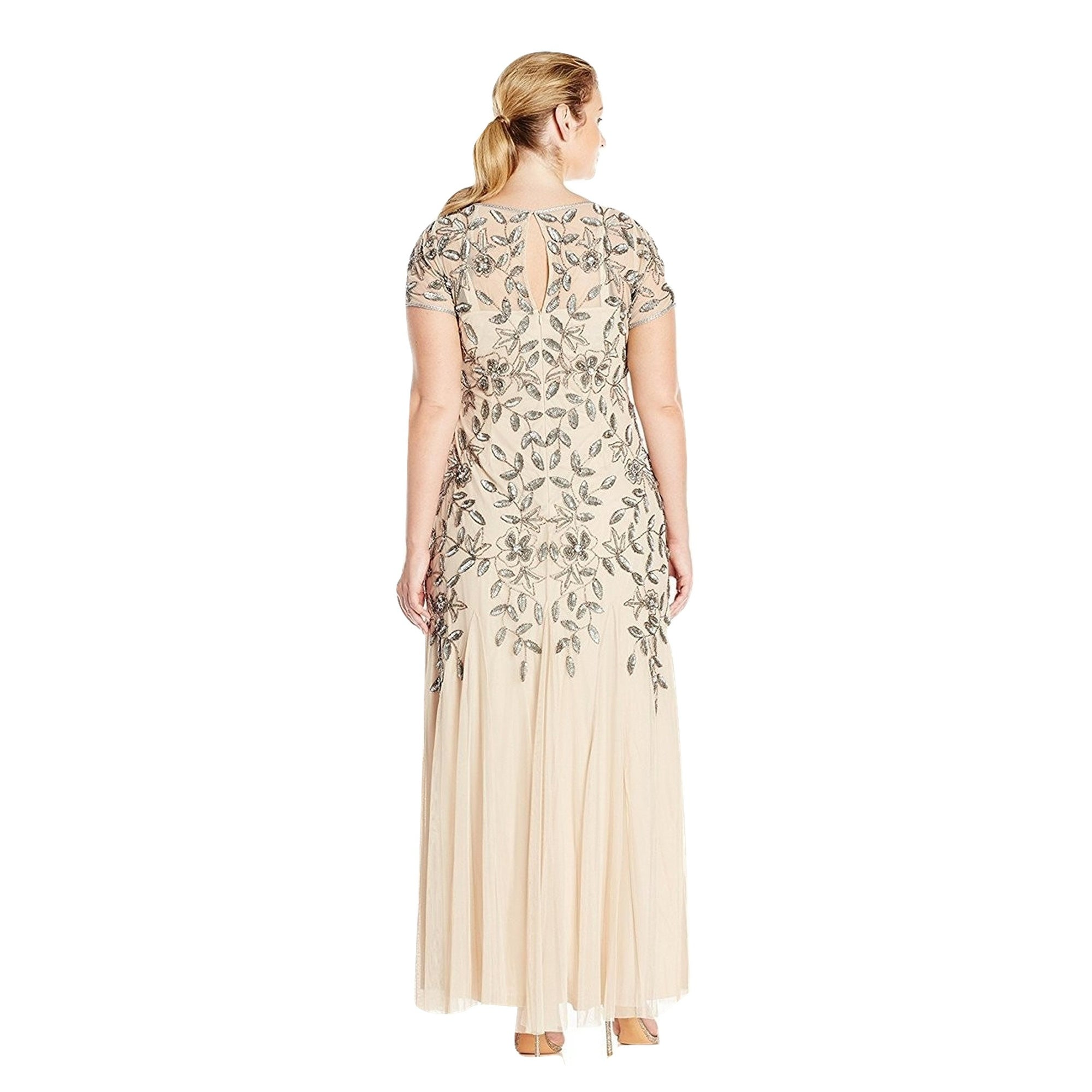 Shop Adrianna Papell Floral Beaded Godet Short Sleeve Evening Gown
