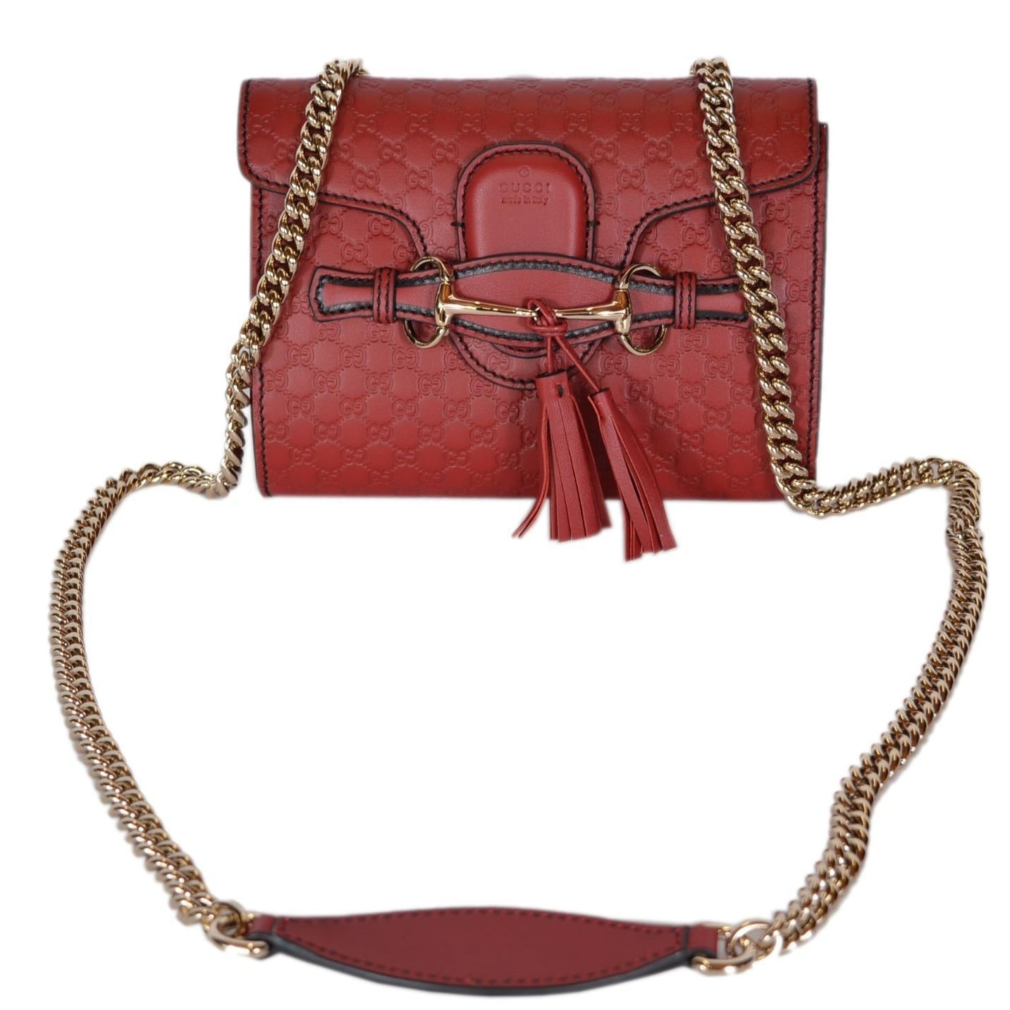 30649b7bf343cc Shop Gucci 449636 Red Micro GG Guccissima Leather MINI Emily Crossbody Purse  - Free Shipping Today - Overstock - 20919619