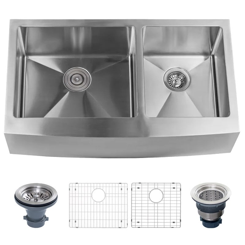 Shop Miseno Mss3620f6040 Farmhouse 36 Double Basin Stainless Steel
