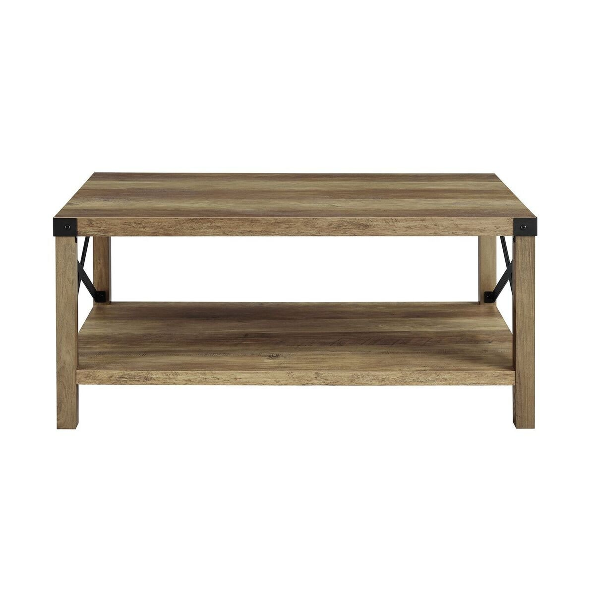 Offex 40 Rustic Urban Style Metal X Coffee Table Oak And Black Free Shipping Today 23564305
