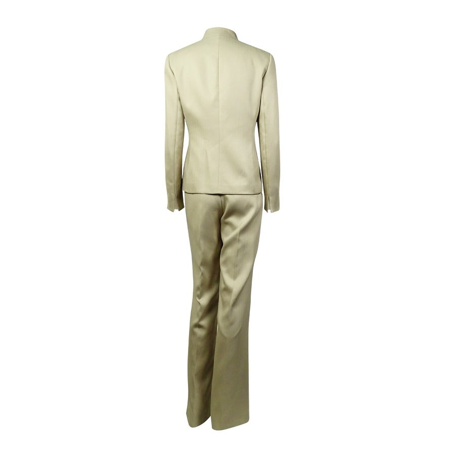 ced84994dc Shop Le Suit Women s Peaked Lapel Three Button Herringbone Pant Suit -  Taupe - Free Shipping Today - Overstock - 15017963
