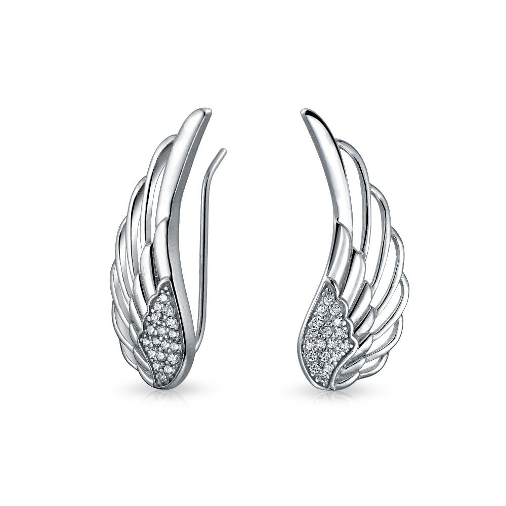 925 Silver Guardian Angel Feather Ear Pin Earrings On Free Shipping Orders Over 45 21159322