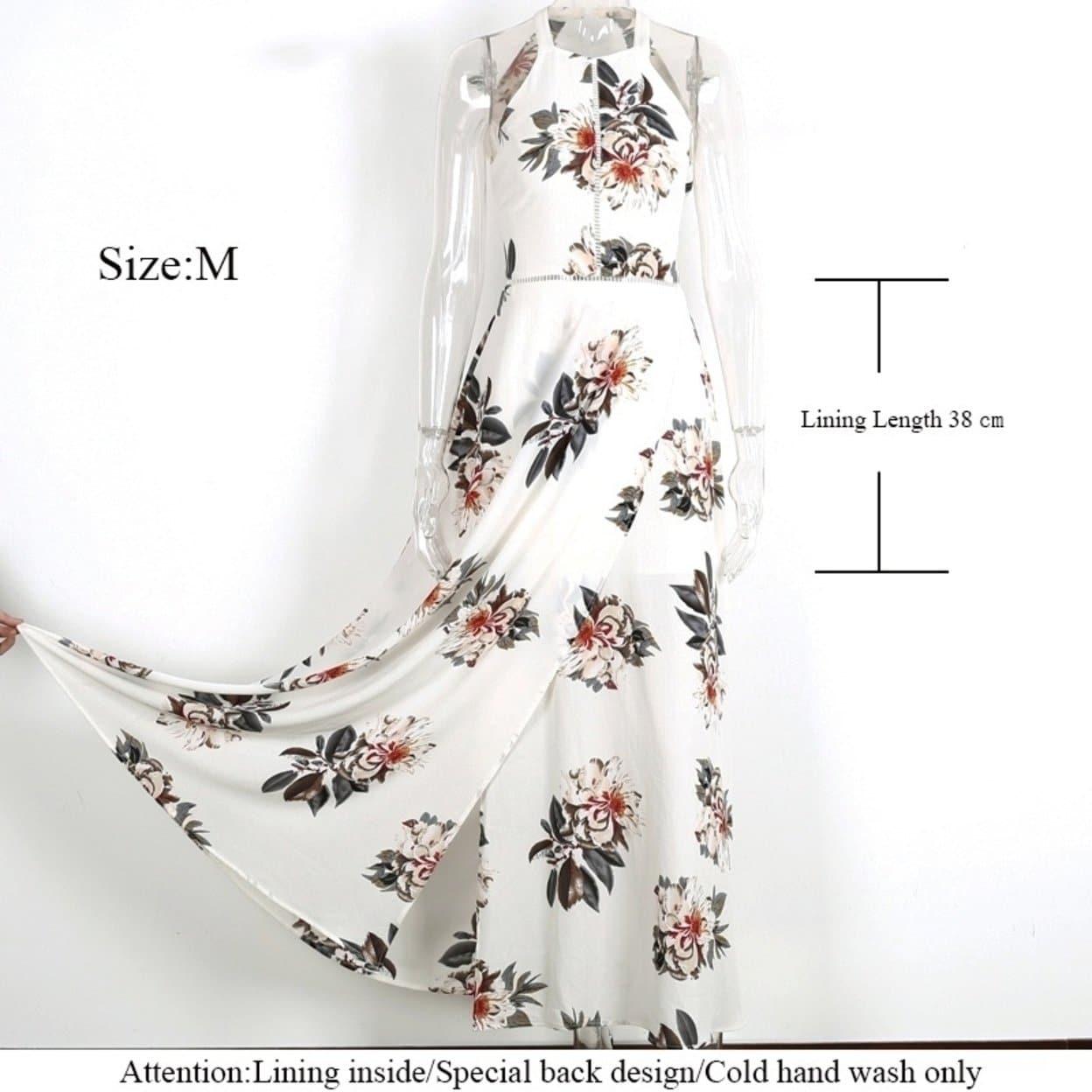 4935880af0766 Floral Print Halter Chiffon Long Dress Women Backless 2017 Maxi Dresses  Vestidos Hot White Split Beach Summer Dress