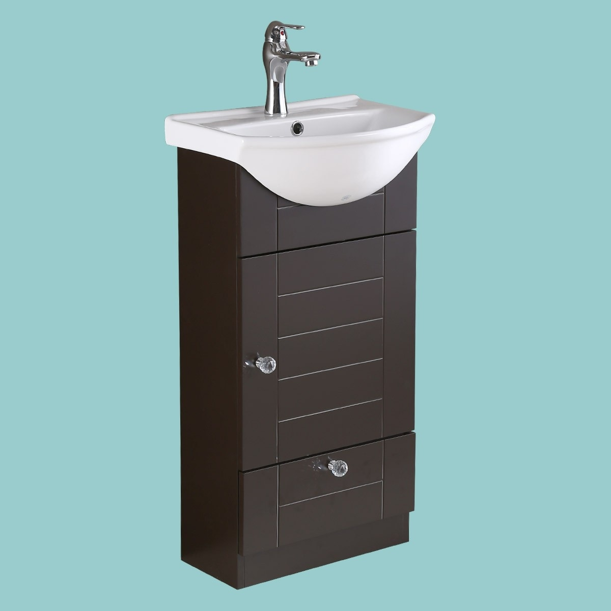 Shop Small Vanity Sink For Bathroom White, Dark Oak Cabinet, Faucet ...