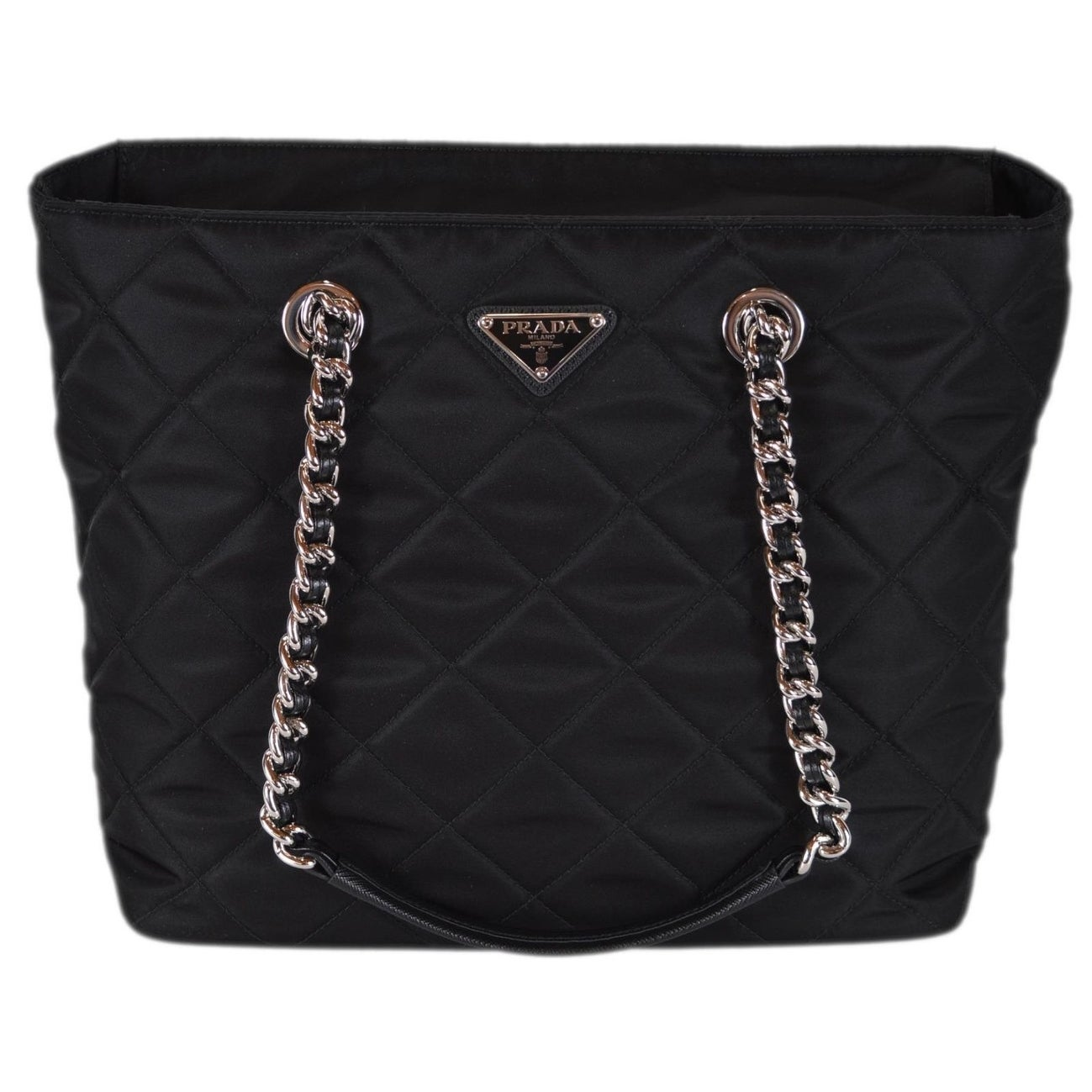 35c83829e808 Shop Prada Black 1BG017 Black Tessuto Quilted Nylon Chain Strap Purse Tote  - Free Shipping Today - Overstock - 24267281