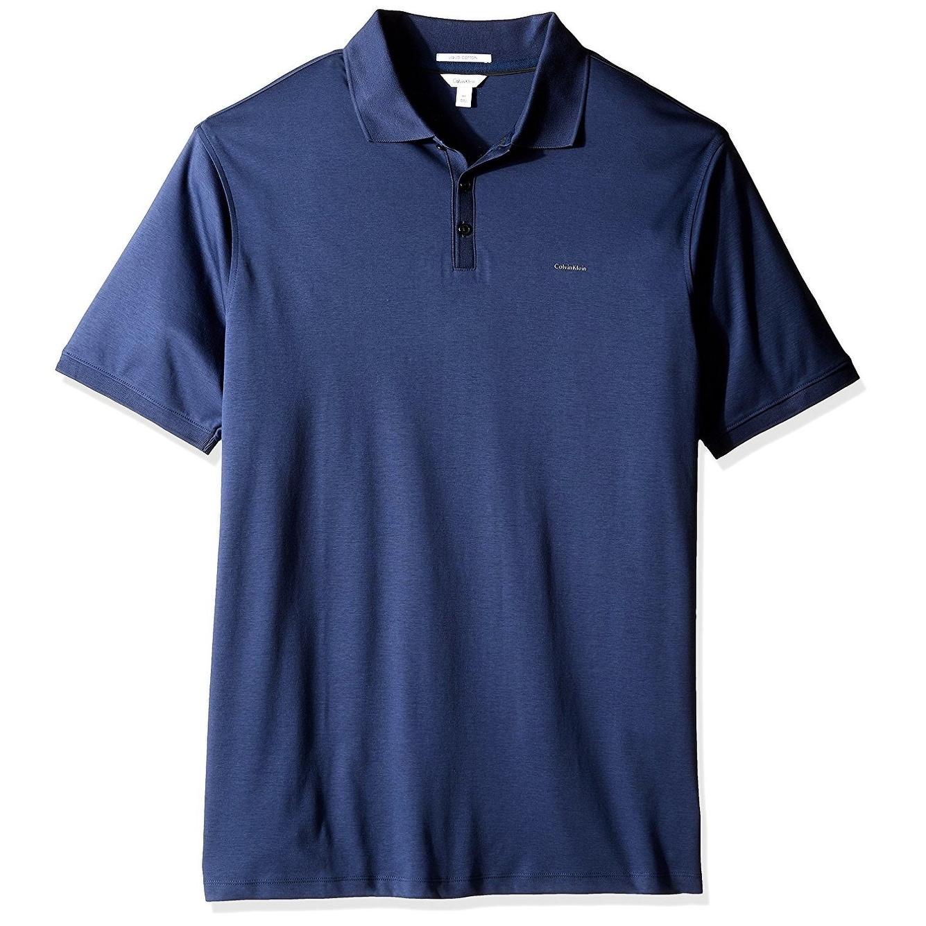Shop Calvin Klein Navy Blue Mens Size Lt Stretch Polo Short Sleeve