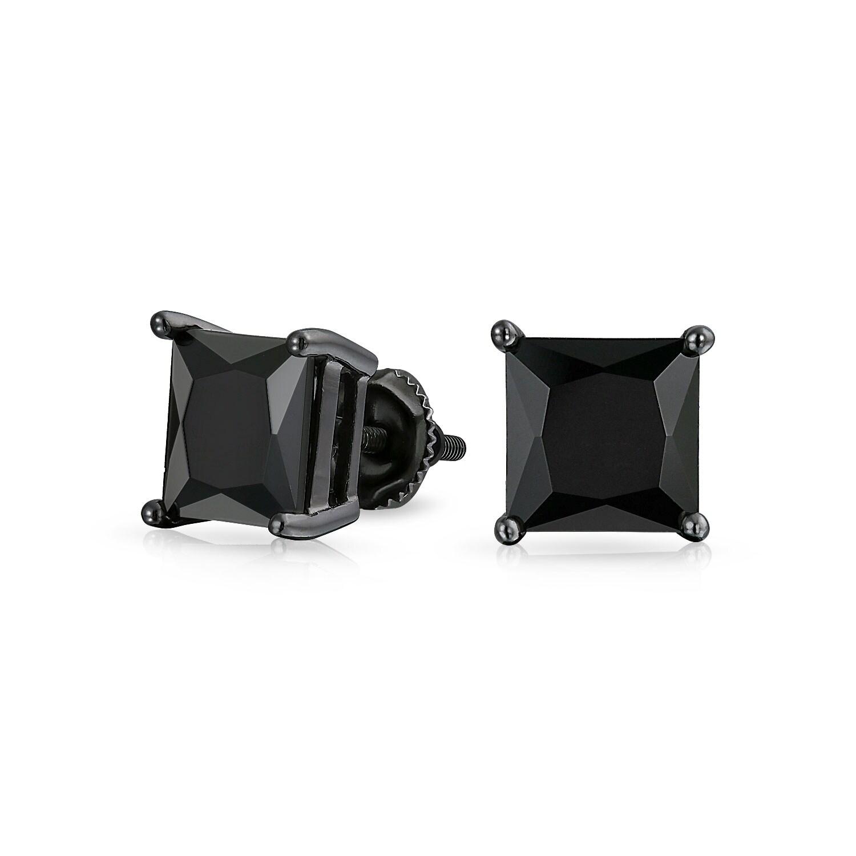 6feec5e79d139 2.5CT Black On Black Square Princess Cut Cubic Zirconia Stud Earrings For  Men Women CZ Screw Back Plated Sterling Silver