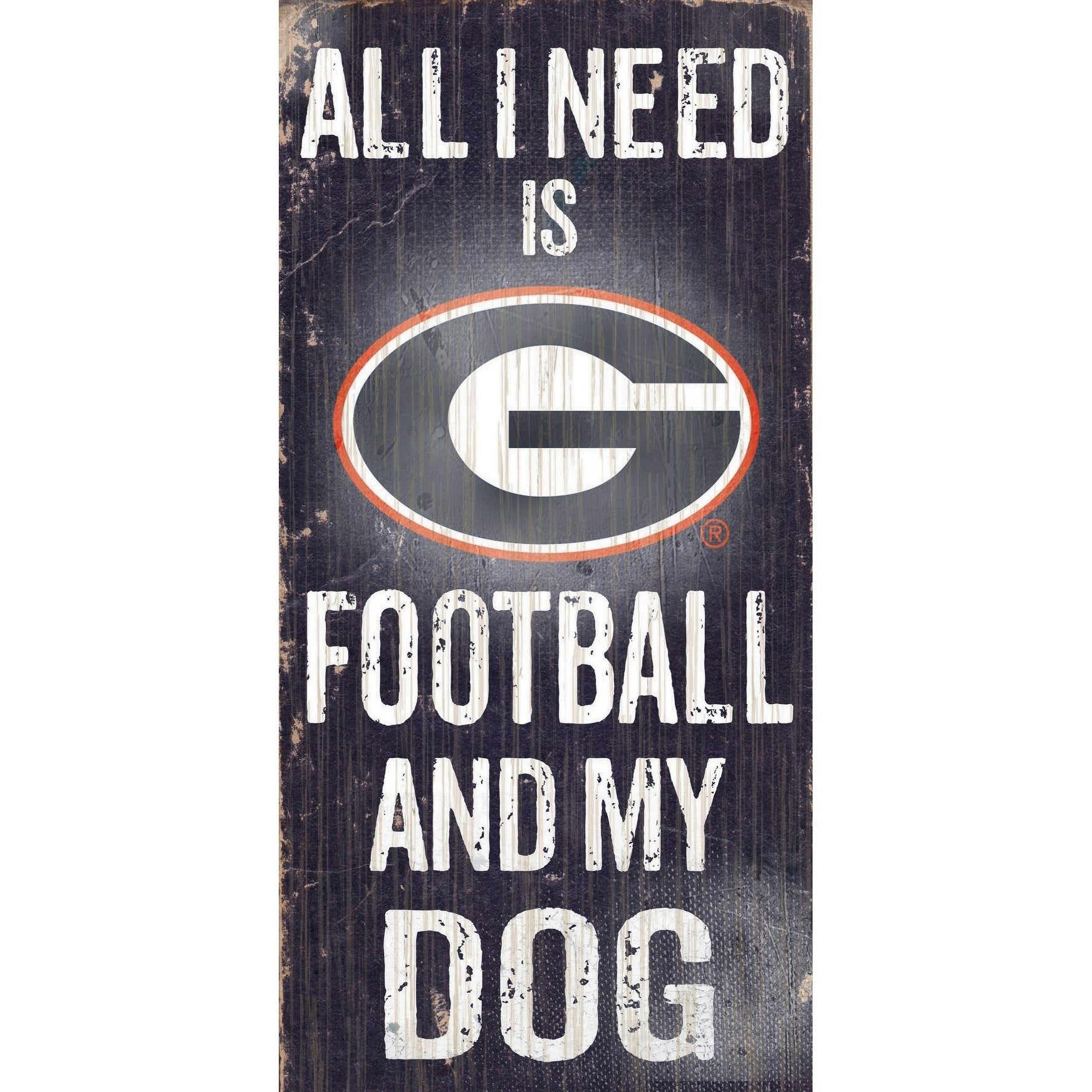 Georgia Bulldogs Wood Sign Football And Dog 6x12