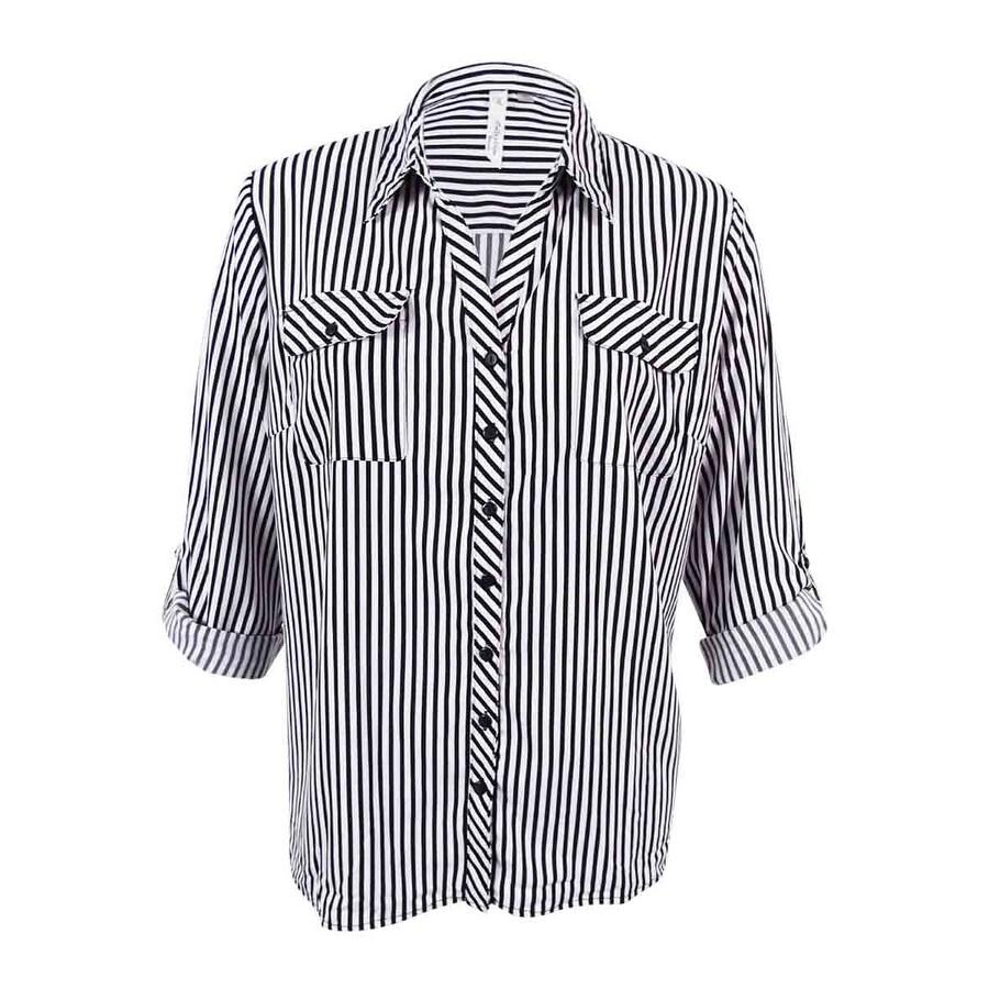 7a061ab07b0f8c Black And White Striped Shirt Womens Plus Size – DACC