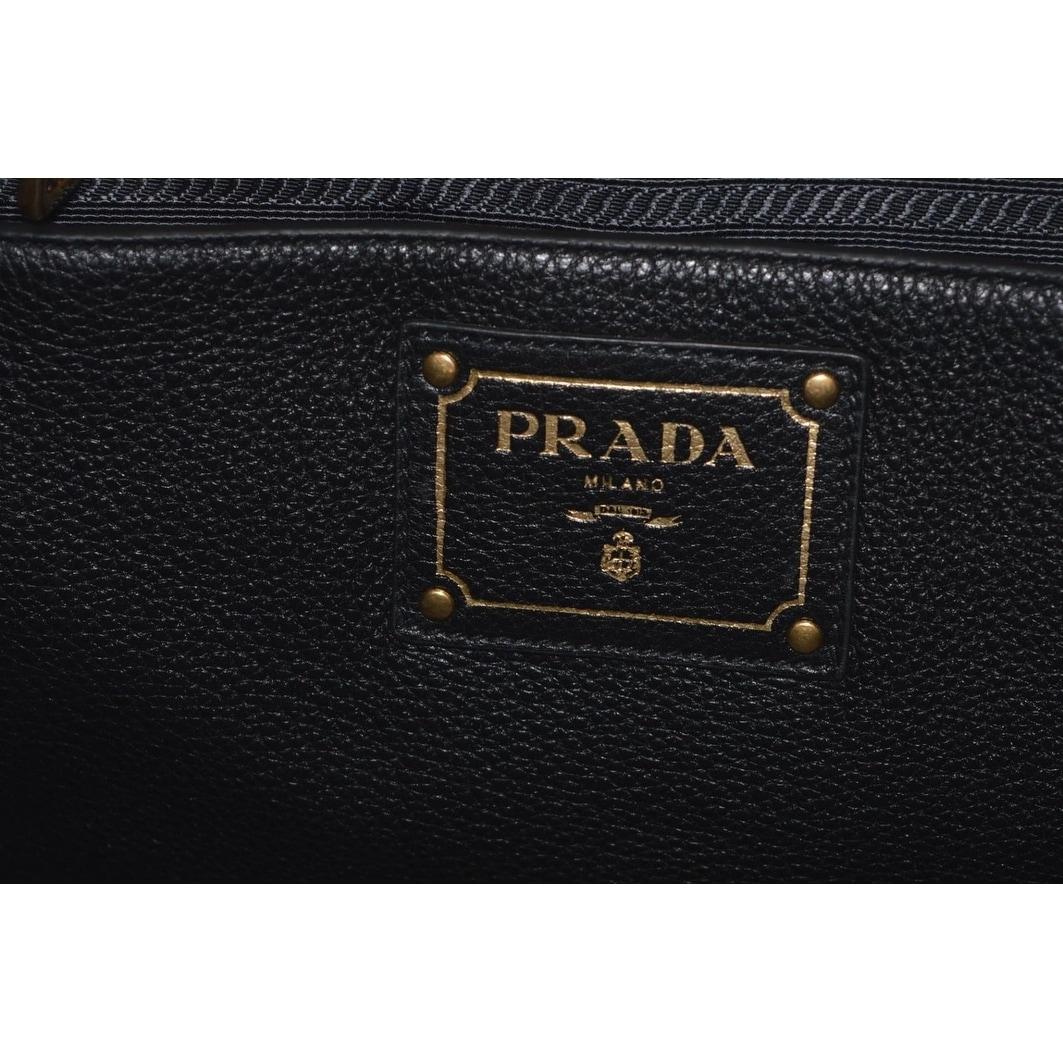0be73067bb1d Shop Prada 1BG865 Black Leather Vitello Phenix Convertible Tote Handbag  Shopper - On Sale - Free Shipping Today - Overstock - 24267141