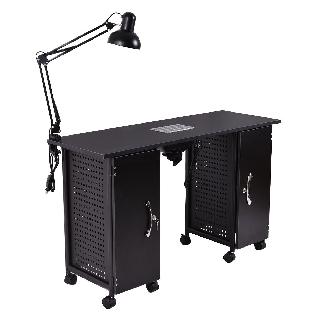 Shop Costway Manicure Nail Table Station Black Steel Frame Beauty ...