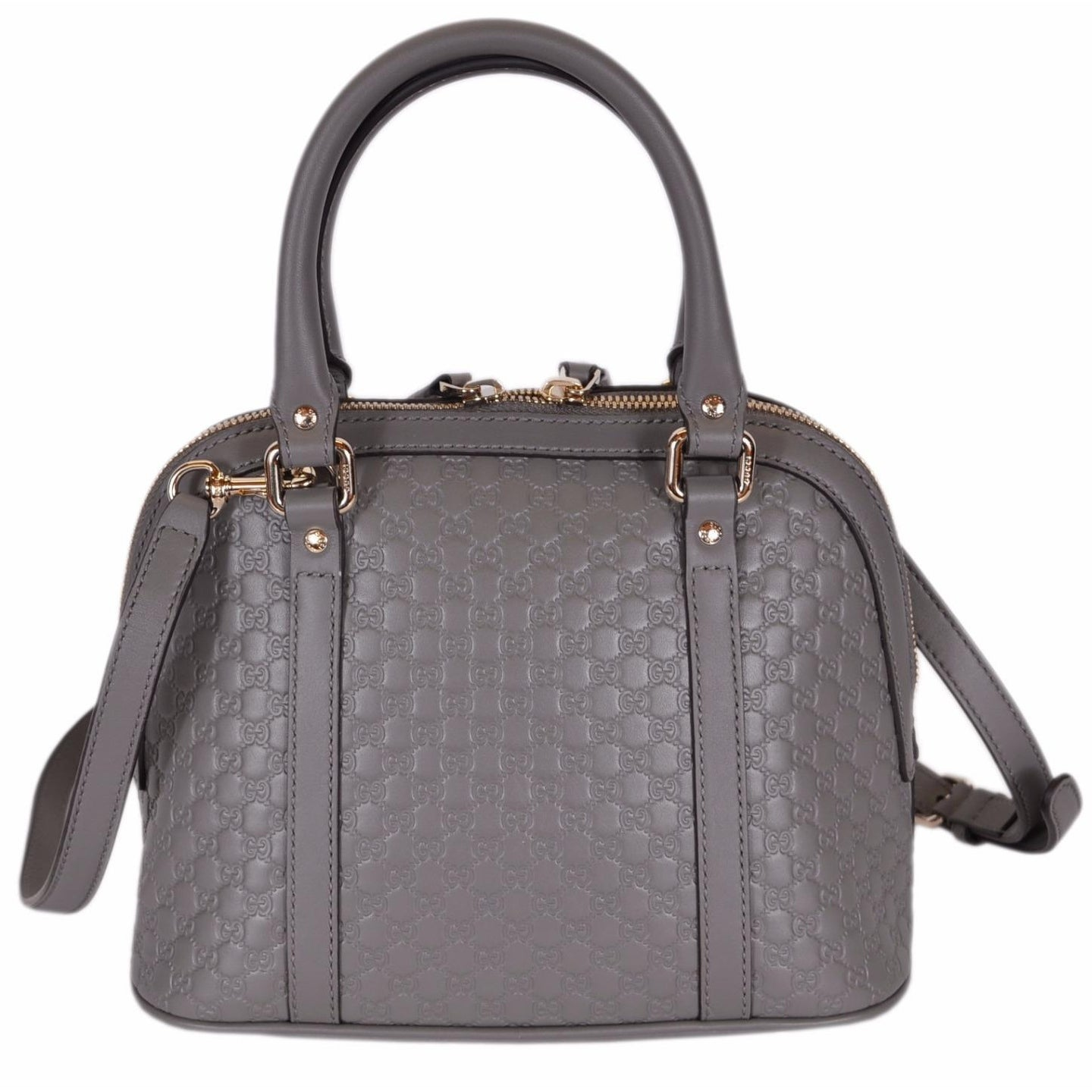 e2f5006f8fa Shop Gucci 449654 Micro GG Grey Leather Convertible Mini Dome Purse - loess  grey - 9