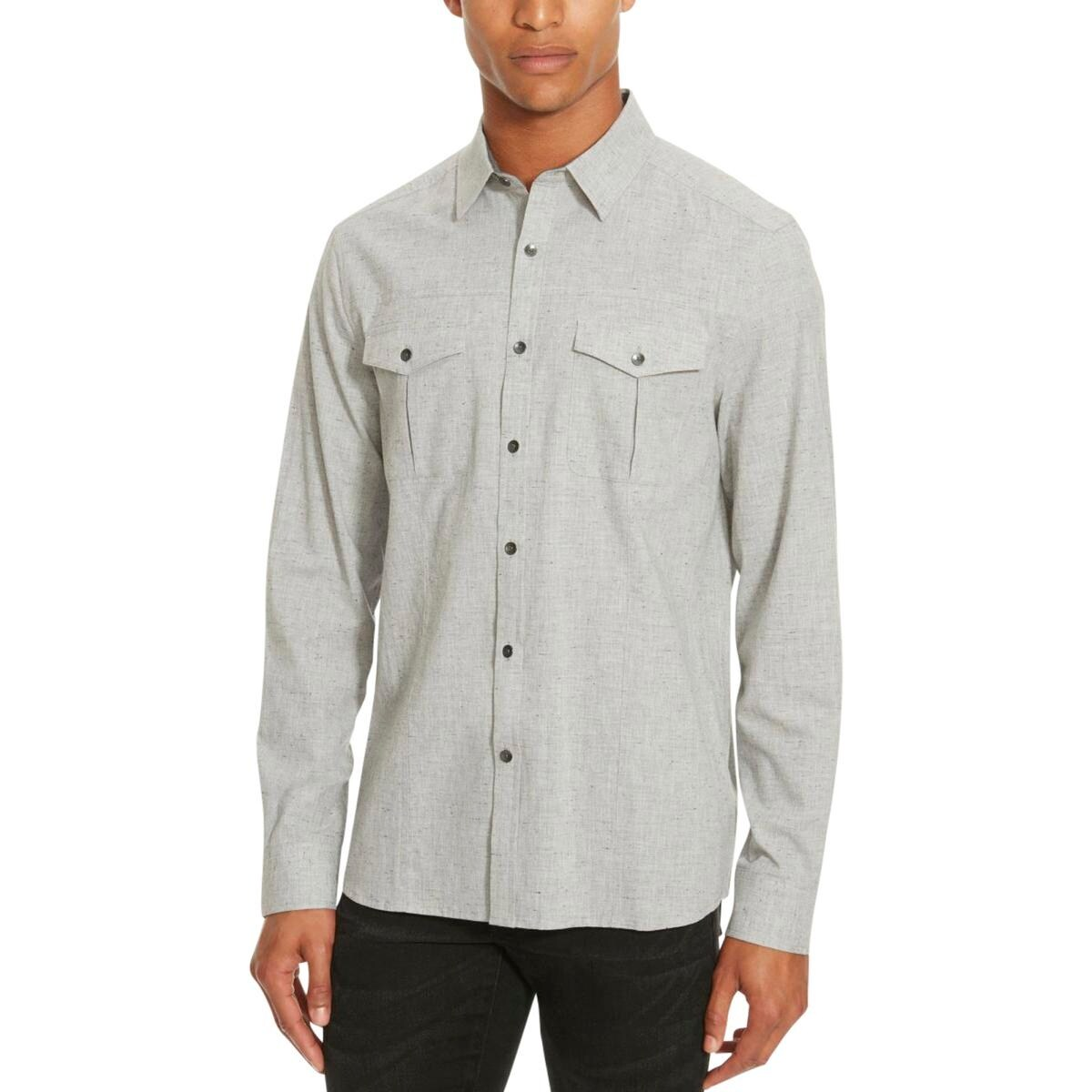 Shop Kenneth Cole Reaction Mens Button Down Shirt Long Sleeve Banded