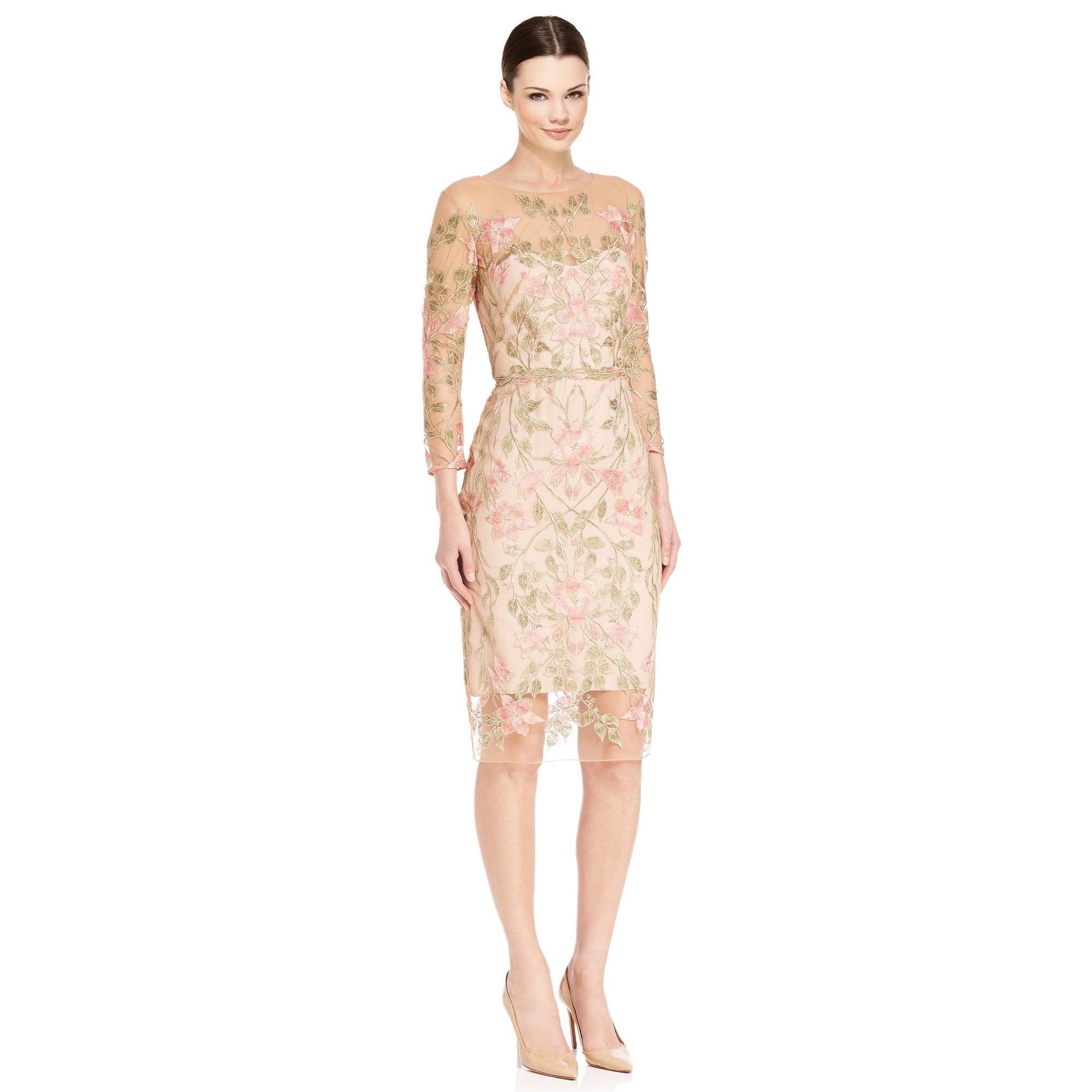 1da83dc9b6 Marchesa Notte Floral Embroidered 3/4 Sleeve Cocktail Evening Dress - 6